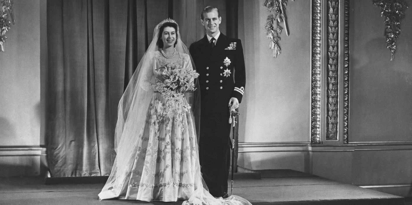 The Queen and The Duke of Edinburgh on their wedding day