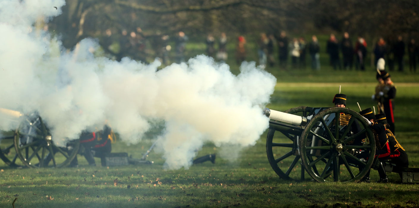 Cannons are fired in Green Park