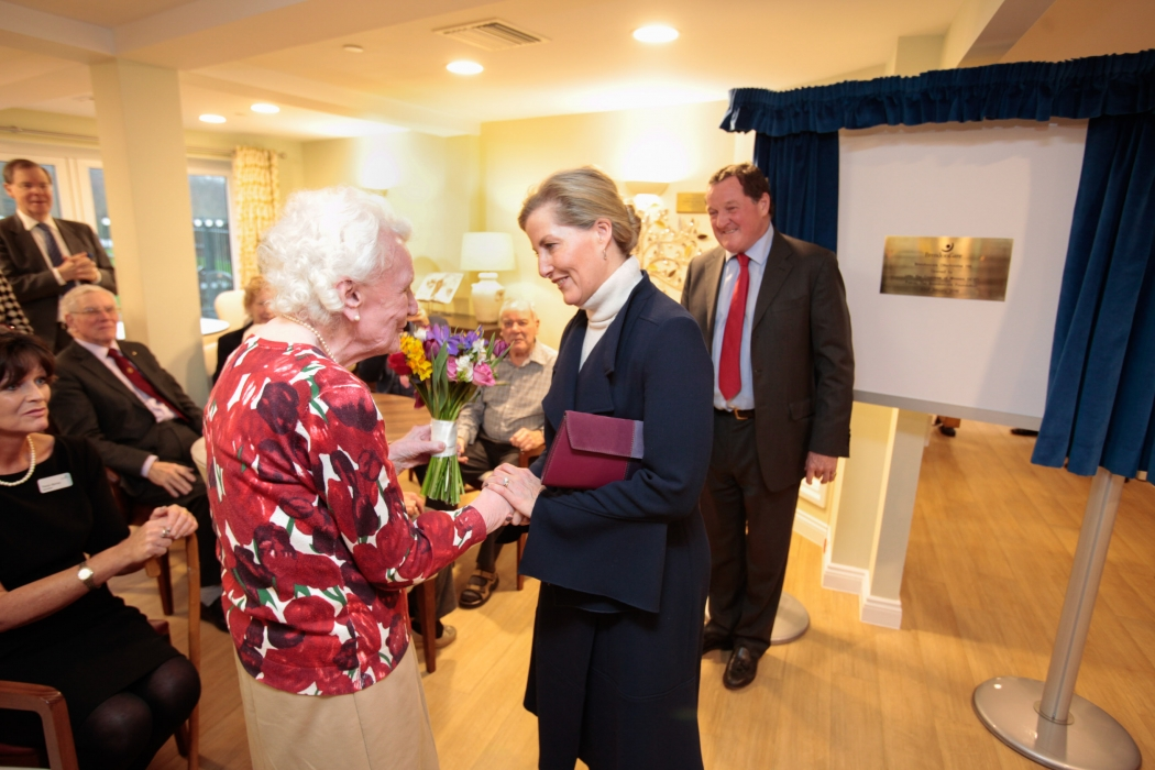 The Countess, who has been Patron of the Brendoncare Foundation since 2003, opened the new  facilities where couples can live together, if one of them is living with dementia.