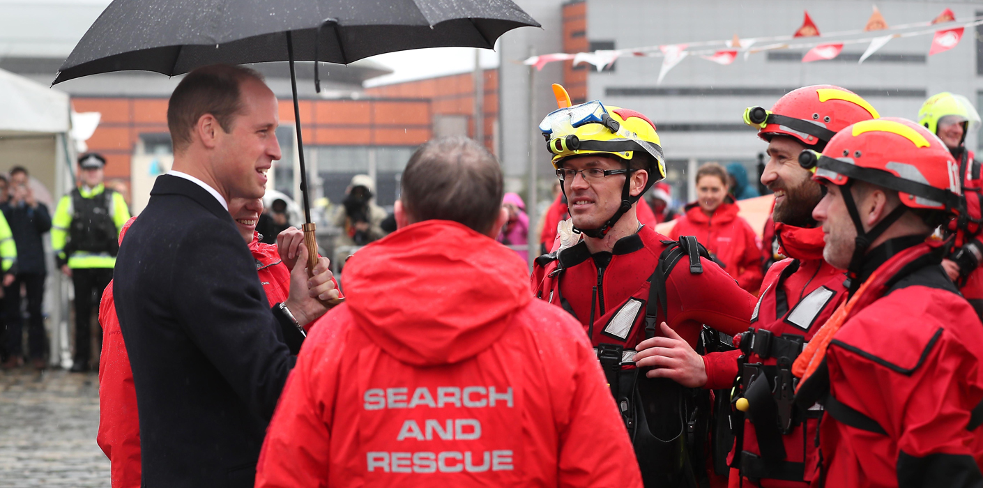The Duke of Cambridge meets search and rescue teams in Belfast
