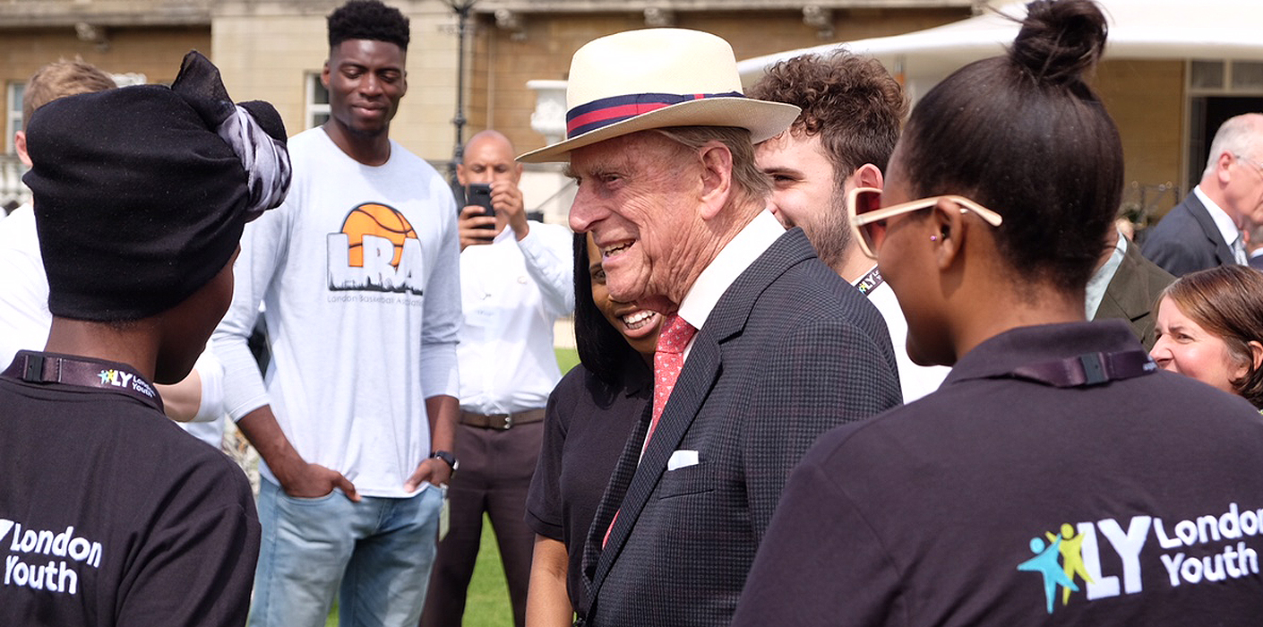 The Duke of Edinburgh speaks to guests at a London Youth reception