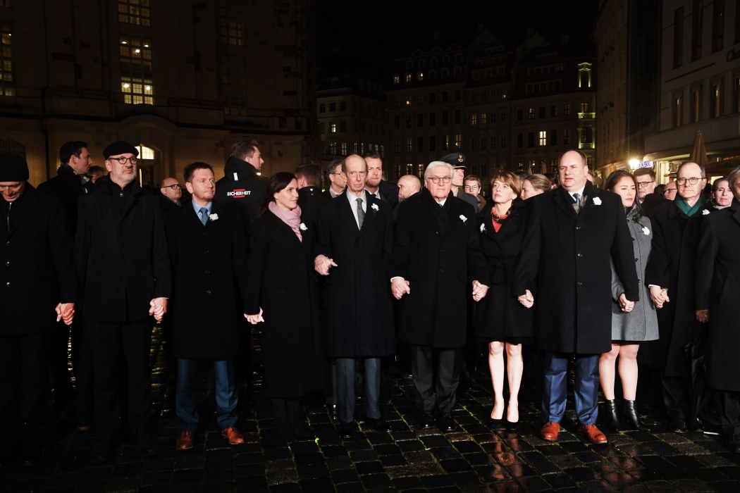The Duke of Kent attends the commemorations of the 75th anniversary of the bombing of Dresden