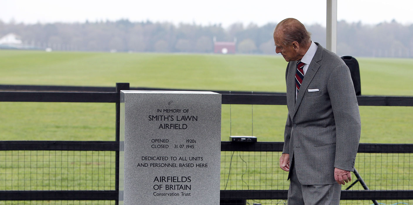 The Duke of Edinburgh unveils an Airfields of Britain Conservation Trust memorial marker