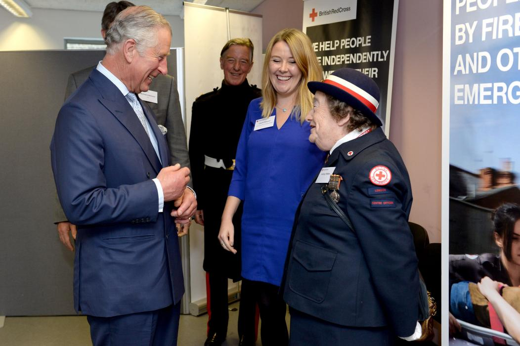 The Prince of Wales meets fund raising volunteer Audrey Tibbles, who has been volunteering for 73 years.