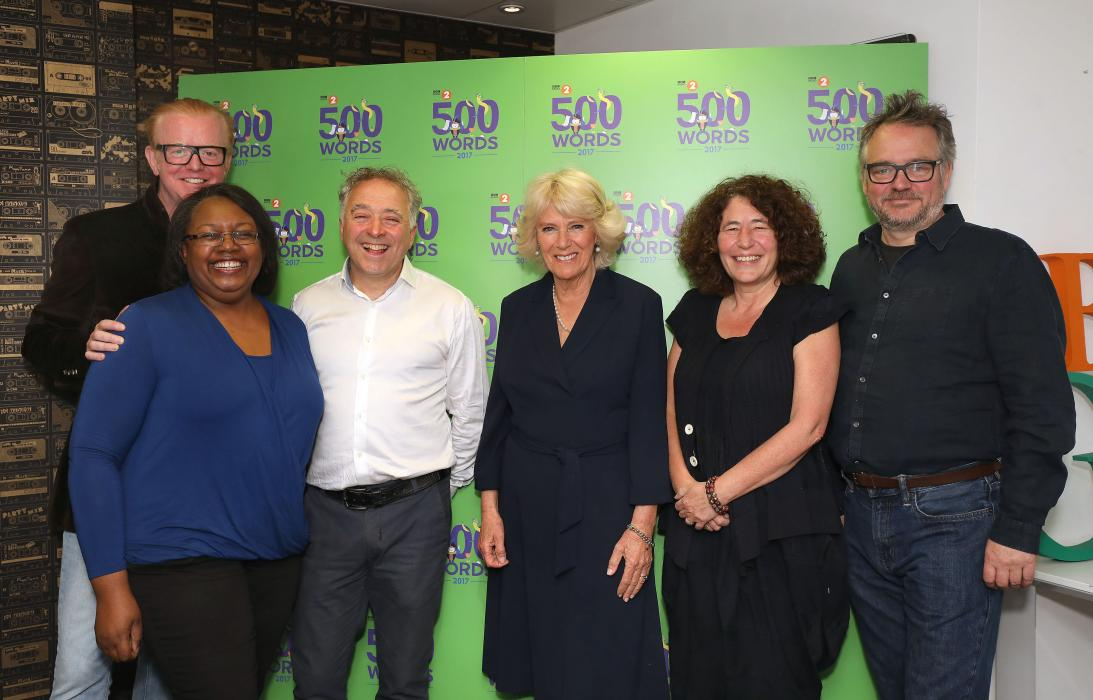 The Duchess of Cornwall visits the BBC Radio 2 studios for the 500 Words competition judging