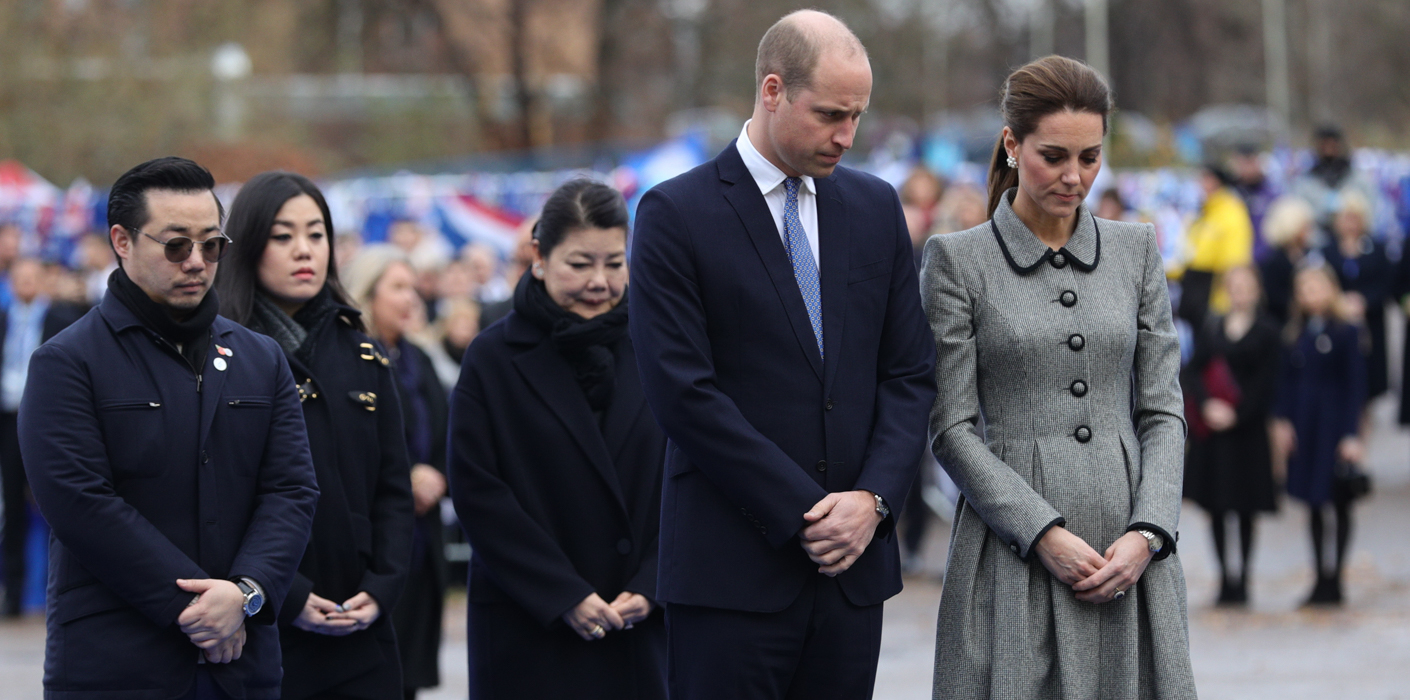 The Duke and Duchess of Cambridge lay flowers at the tribute site in honour of those who died in the helicopter crash outside the King Power Stadium in Leicester.