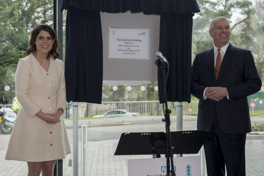 The Duke of York, accompanied by Princess Eugenie, visit the Royal National Orthopaedic Hospital