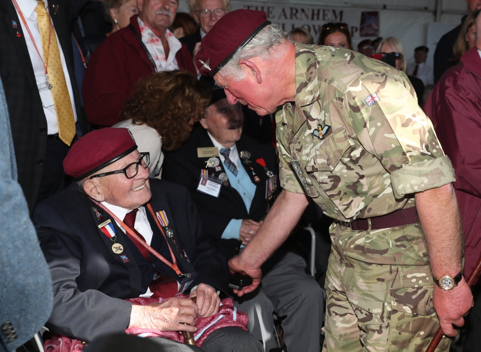 The Prince of Wales meets a veteran at Battle of Arnhem commemorations