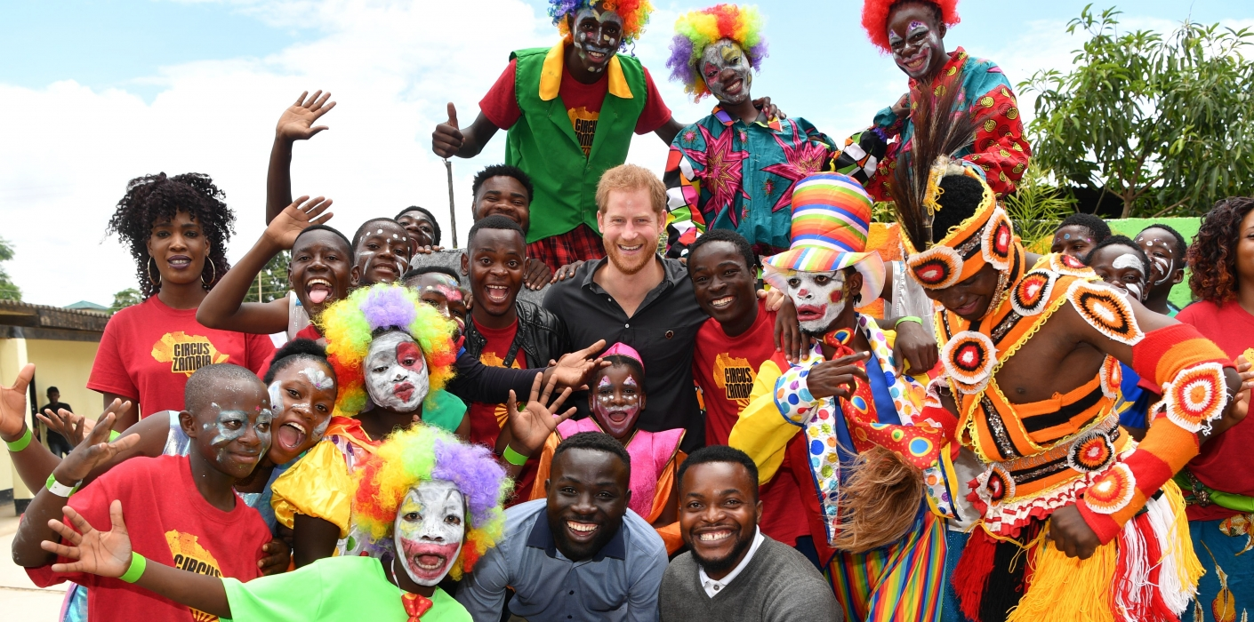 The Duke of Sussex at Circus Zambia, a partner of The Queen's Commonwealth Trust.