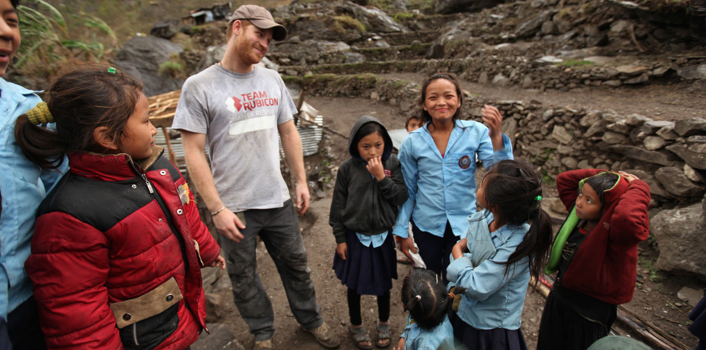 Prince Harry joins Team Rubicon volunteers following his official tour to Nepal.