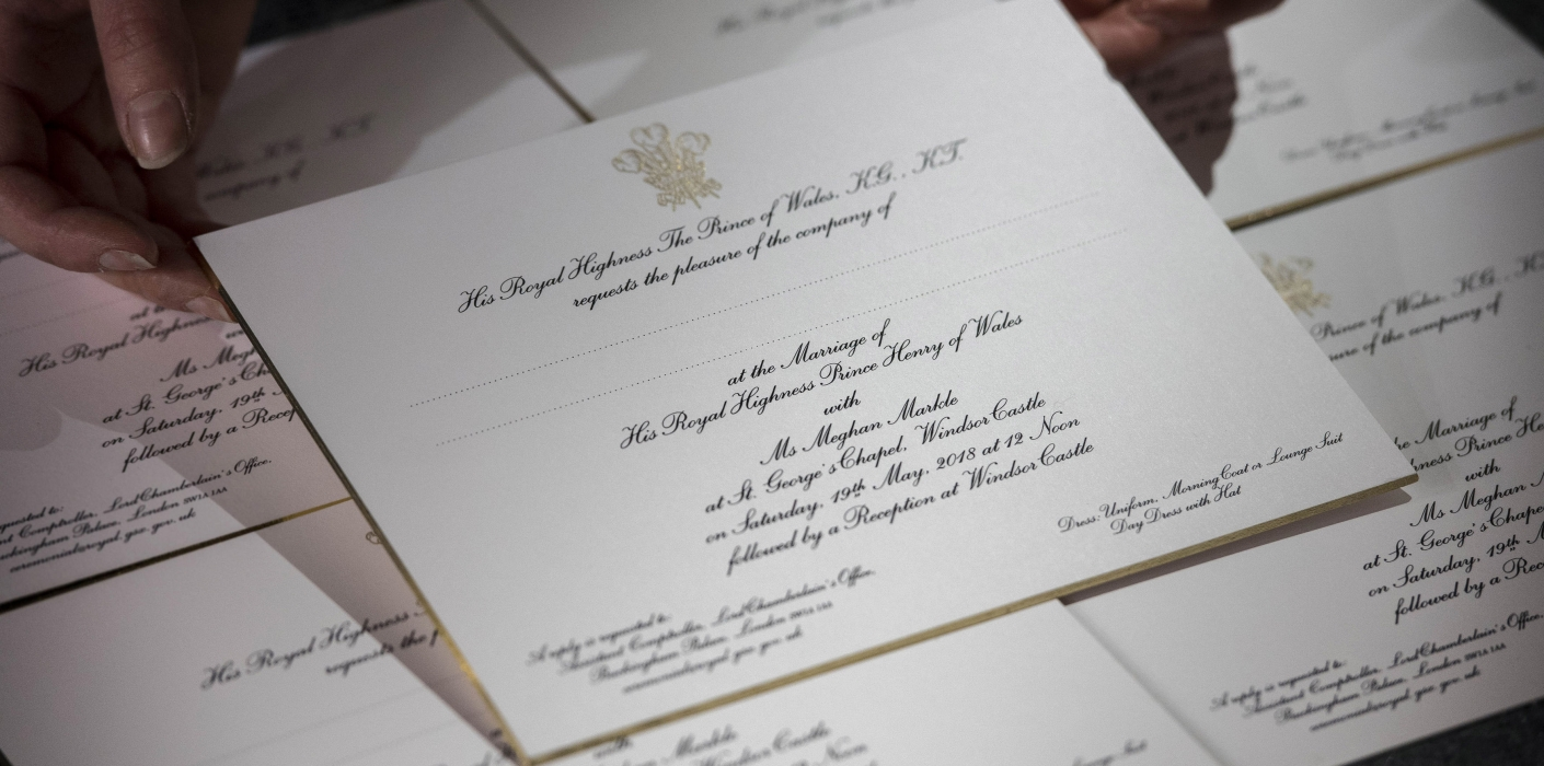 Invitations to the wedding of Prince Harry and Ms. Meghan Markle ...