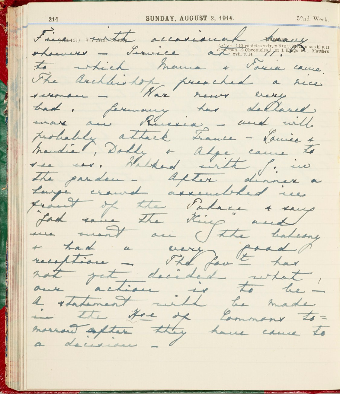 Queen Mary's Diary entry 2 August 1914