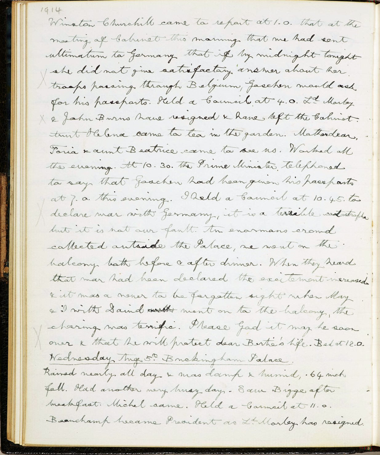 George V Diary entry from 4 August 1914
