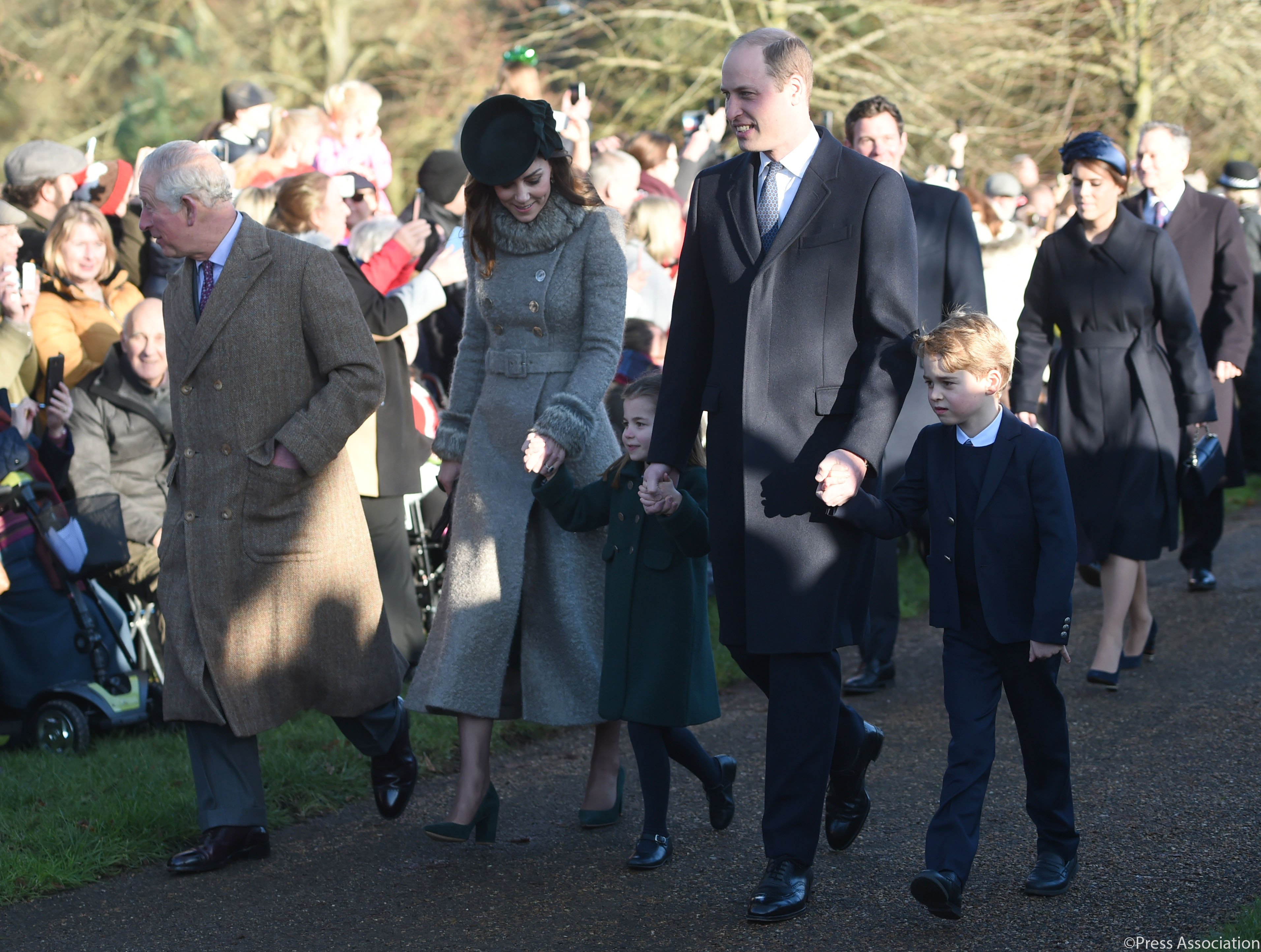 The Prince of Wales, The Duke and Duchess of Cambridge, Prince George and Princess Charlotte arrive for St Mary Magdalene Church in Sandringham