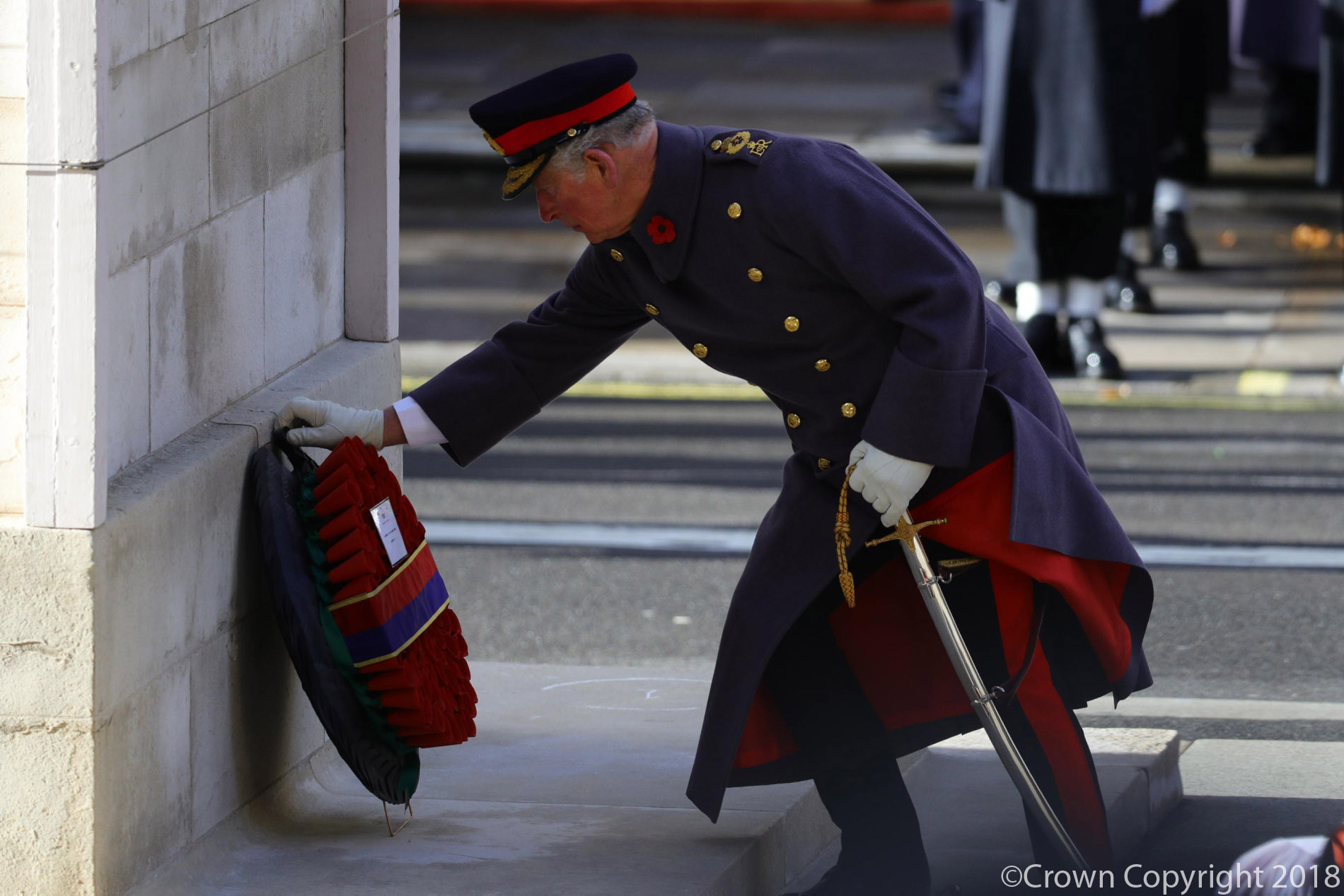 The Prince of Wales lays the Queen's Wreath