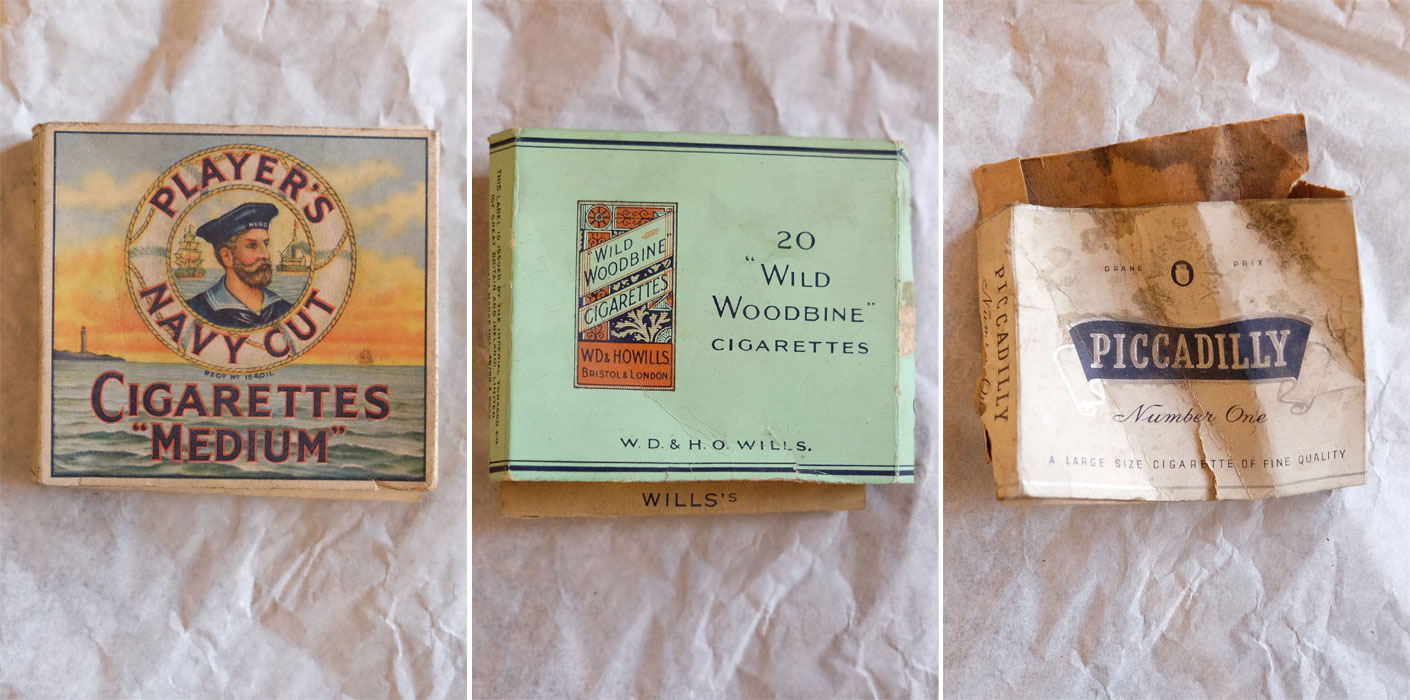 old cigarette packets found in the floorboards of Buckingham Palace