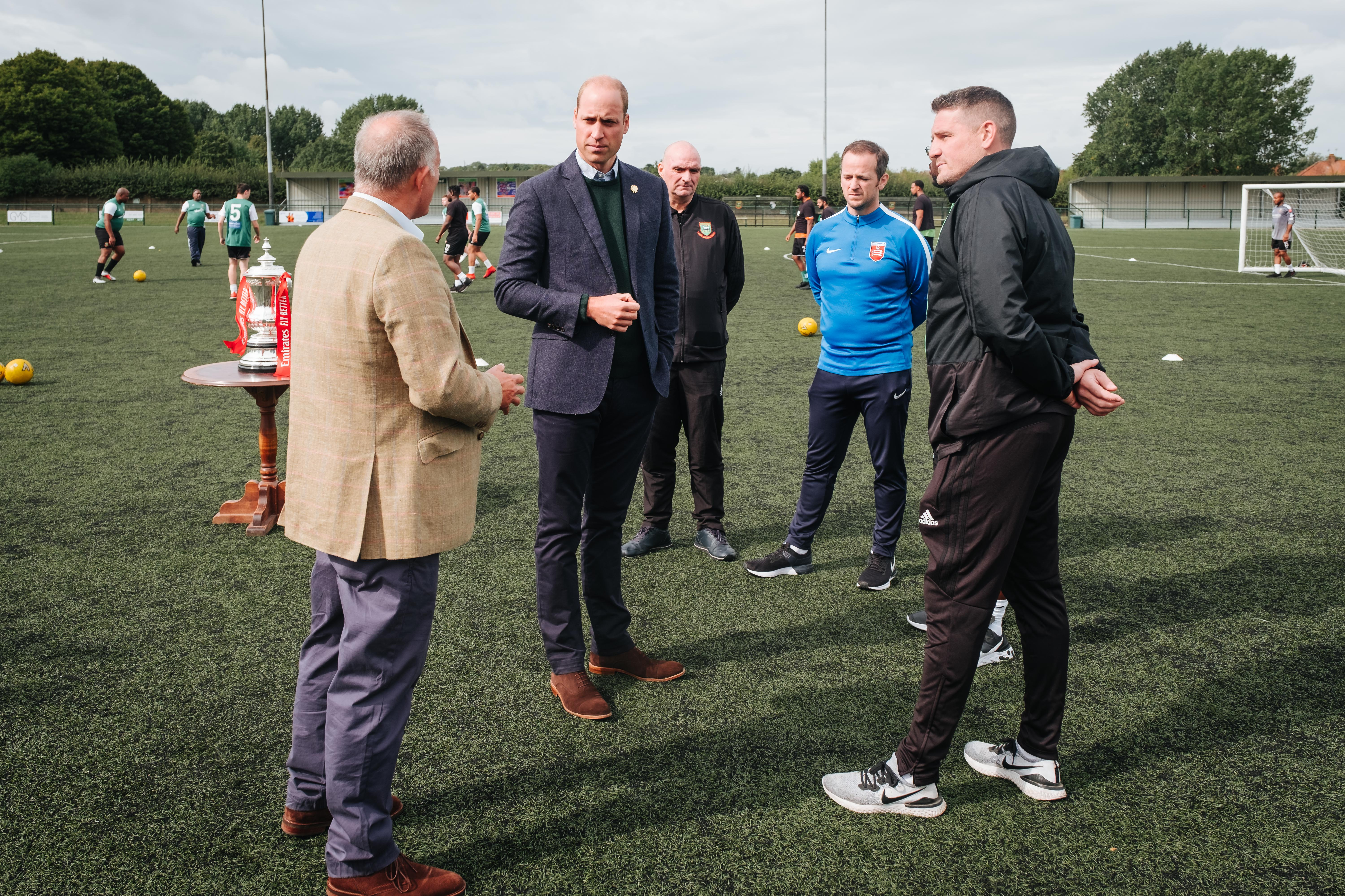 The Duke of Cambridge, President of the FA, visited Hendon FC as part of the Heads Up campaign.