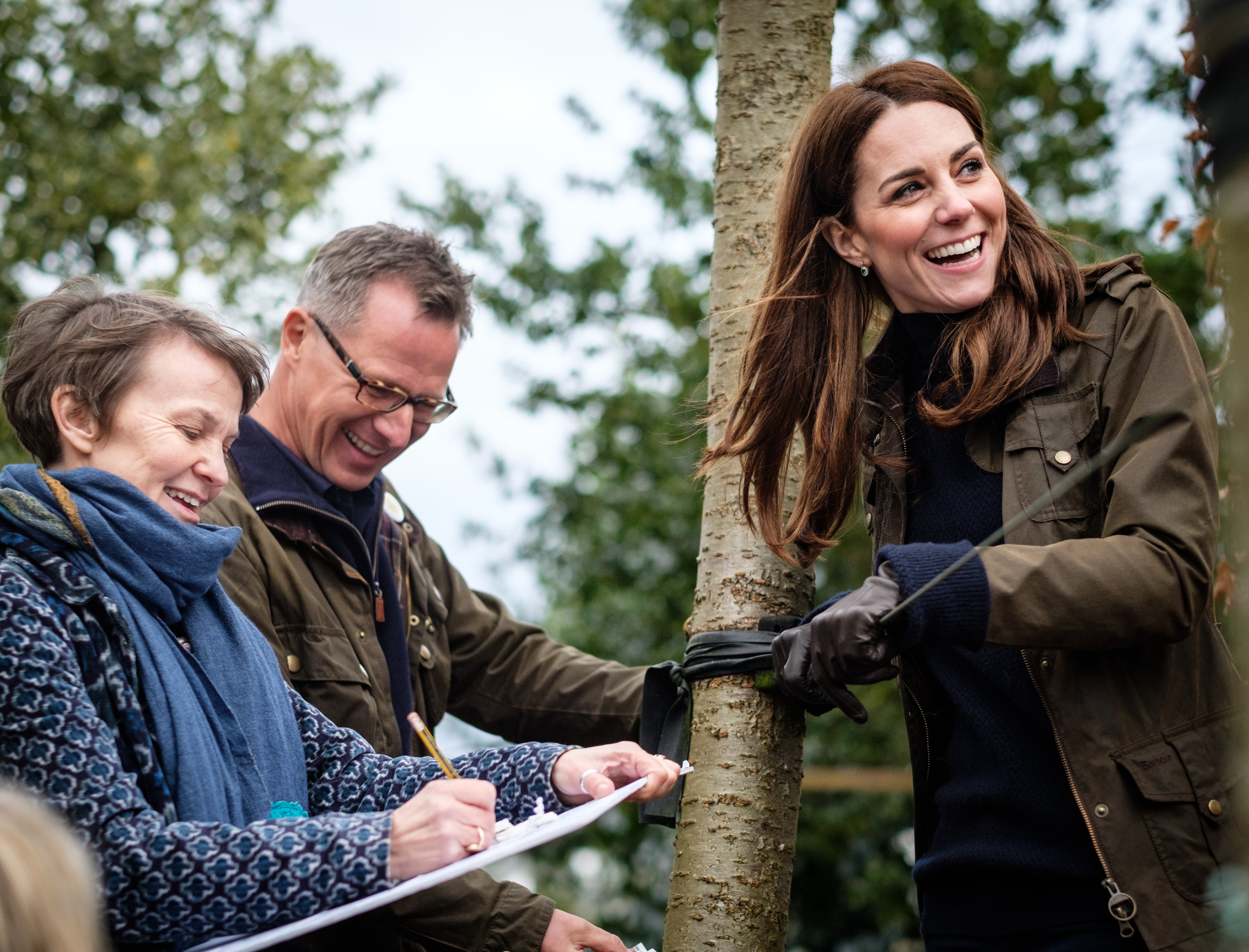 The Duchess of Cambridge with landscape architects Andrée Davies and Adam White of Davies White Landscape Architects