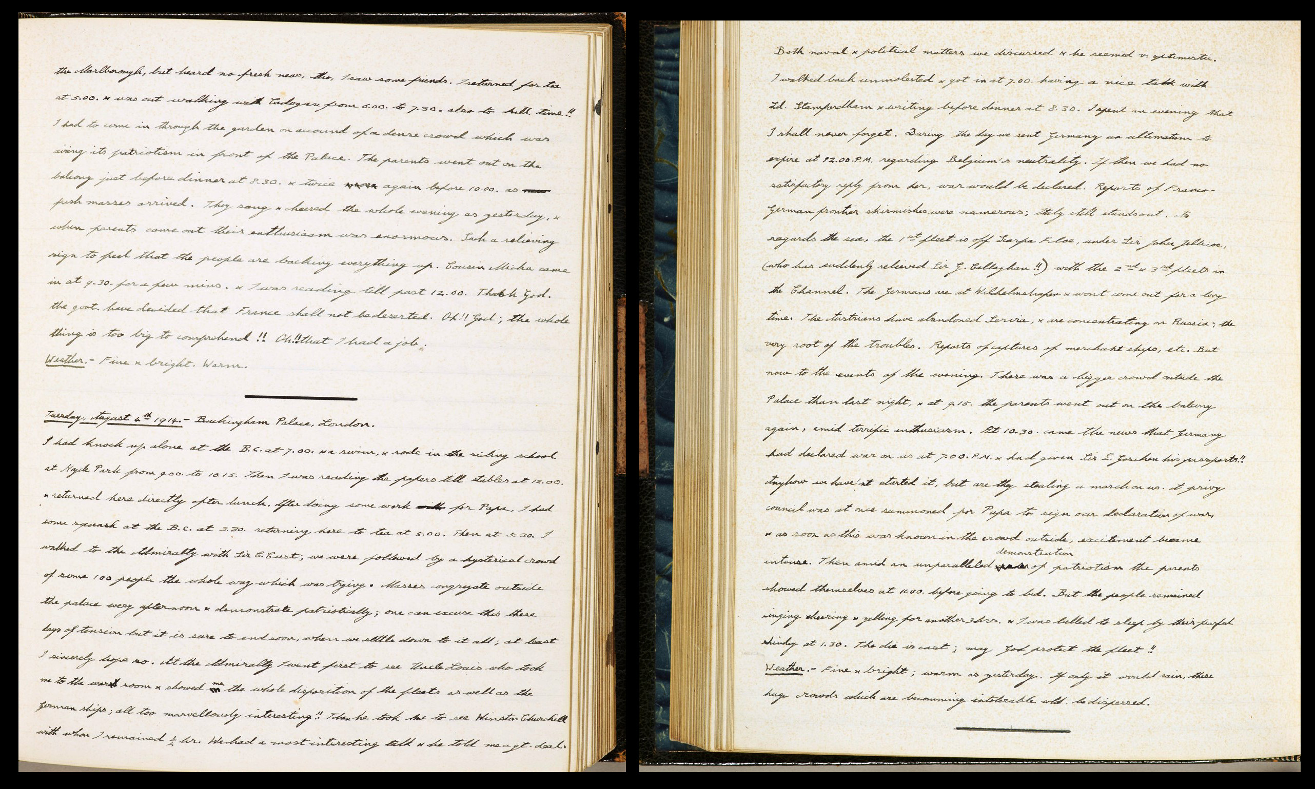 Edward, Prince of Wales Diary entry 4 August 1914