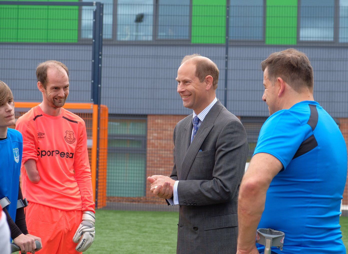 The Earl of Wessex meets an amputee football team and Everton Football Club