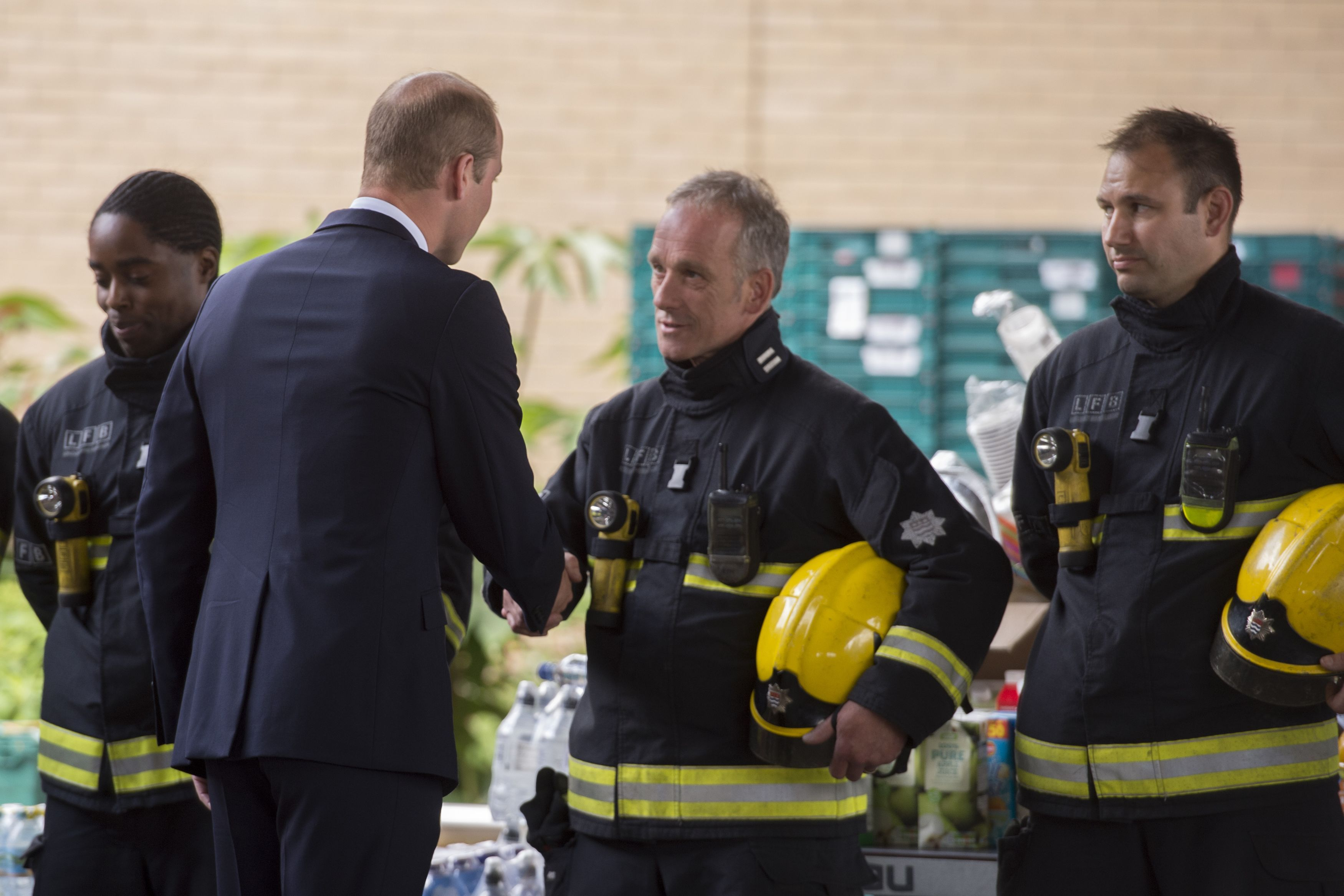 The Duke of Cambridge meets the fire service