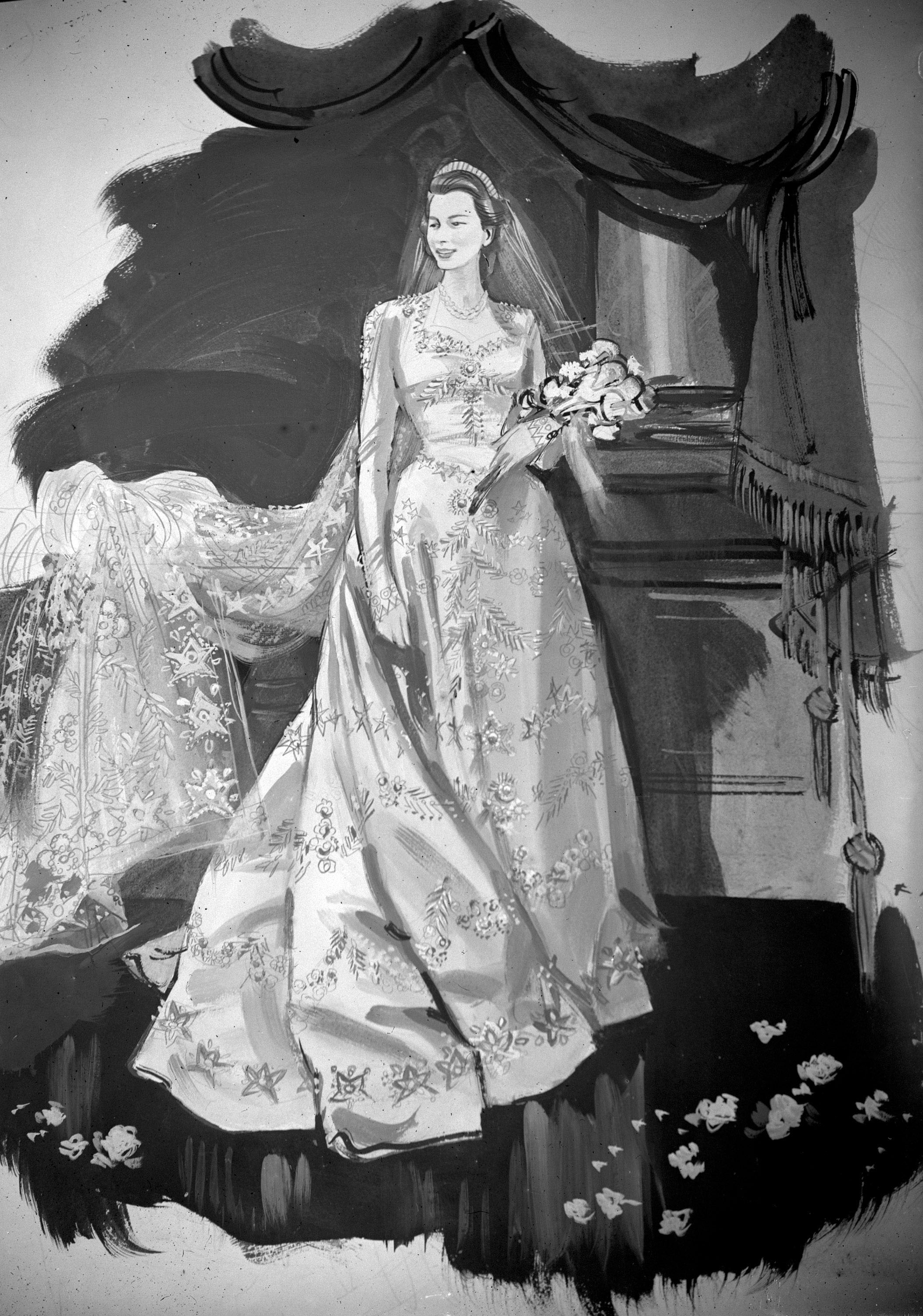 Norman Hartnell's design for the dress