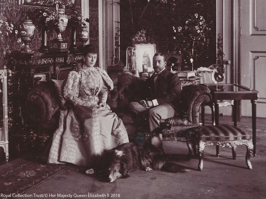 George V and Queen Mary with their collie, Heather