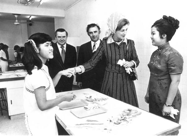 Princess Alexandra meets children being helped by Sightsavers at Ebenezer School, Hong Kong, 1972