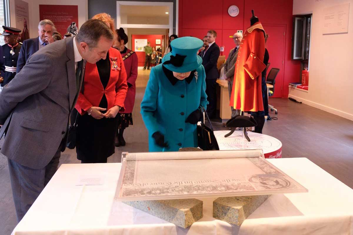 The Queen views the Charter at the opening of the Queen Elizabeth II Centre