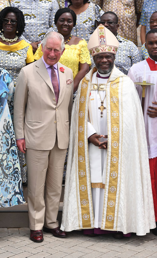 The Prince of Wales with Most Reverend Dr J.O. Akrofi, Anglican Archbishop of Accra, following a Thanksgiving Service at Ridge Church in Accra