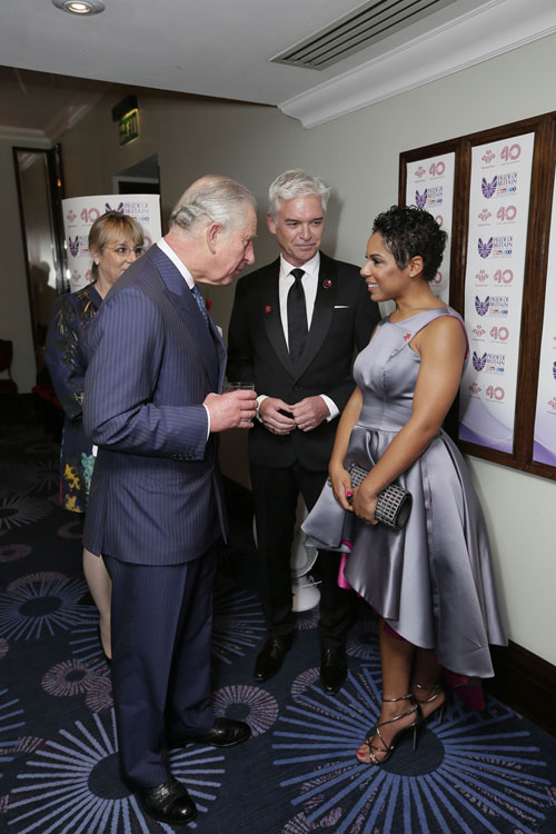 HRH with Phillip Schofield and Francesca Brown, winner of the Young Achiever Award