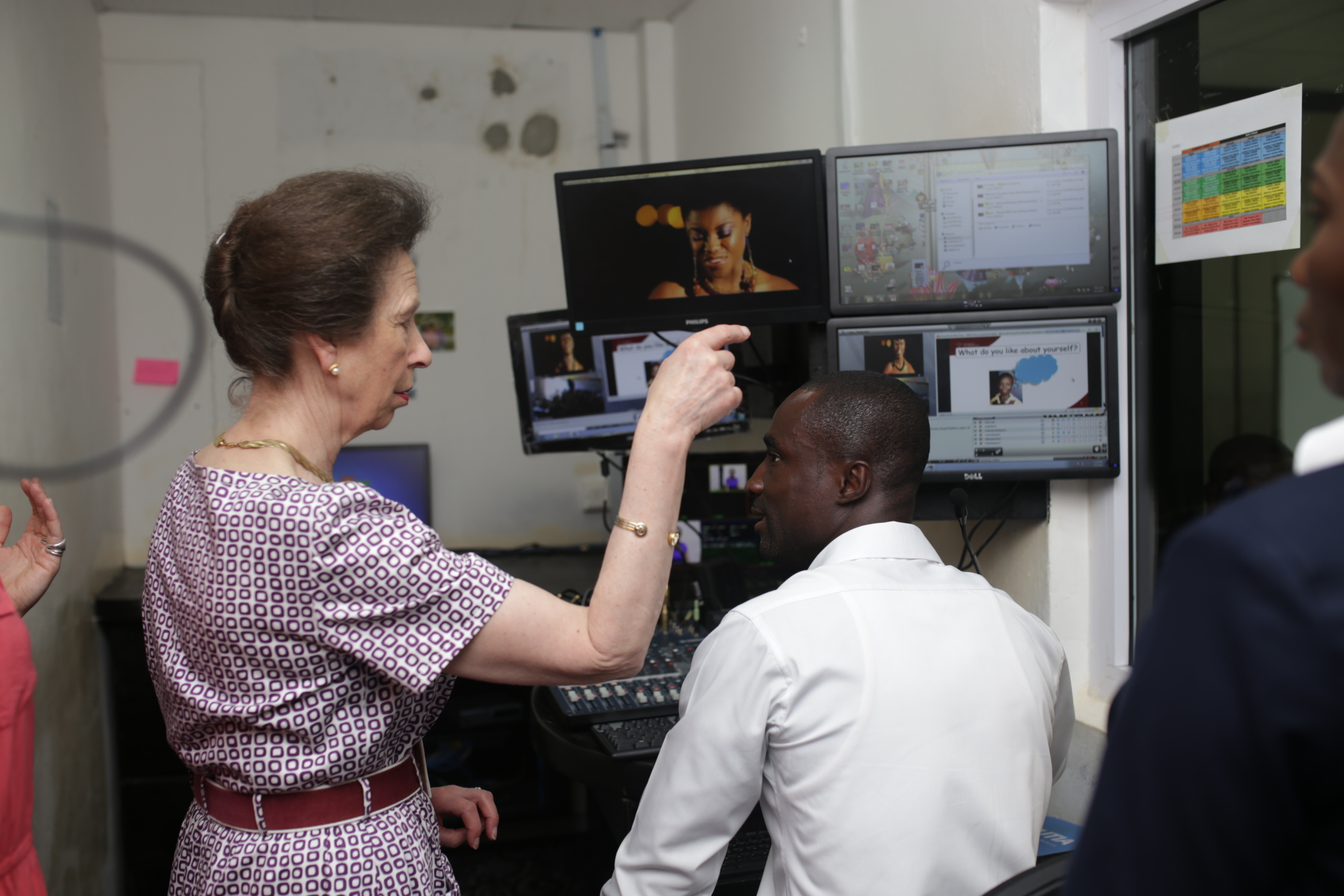 The Princess Royal particpates in a distance learning lesson in Ghana