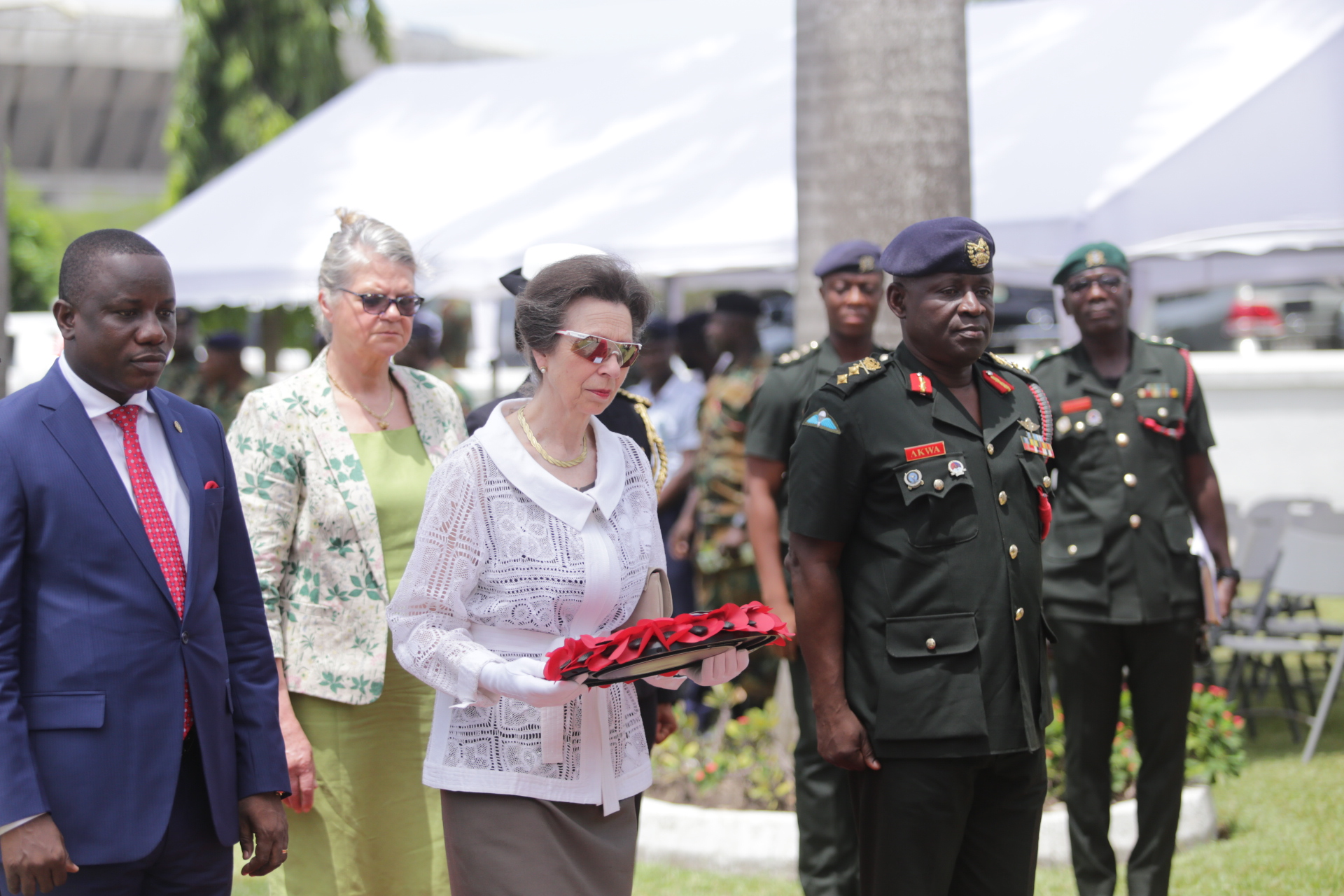 The Princess Royal lays a wreath at Christiansburg War Memorial in Ghana
