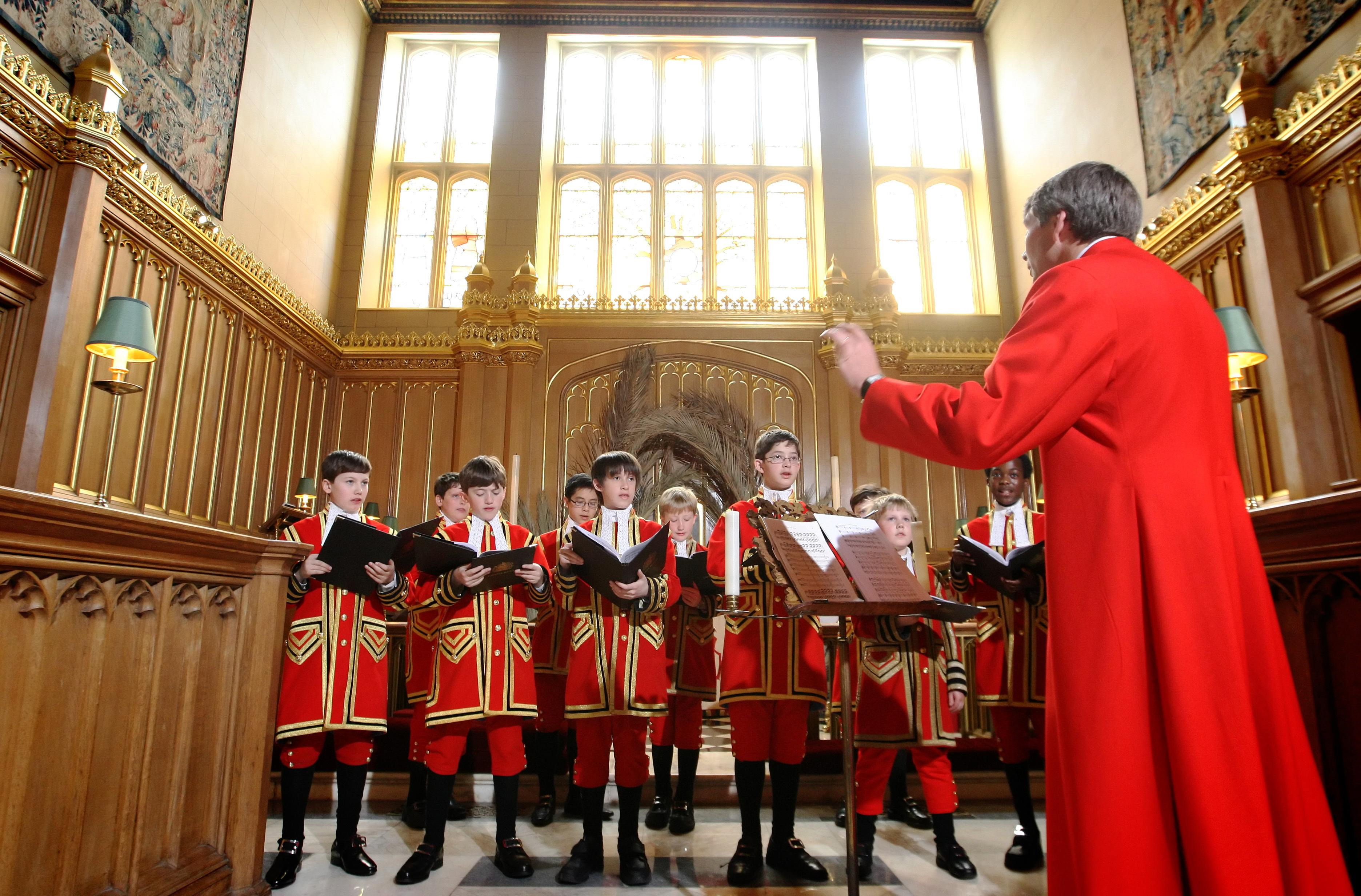 The choir singing in the Chapel Royal