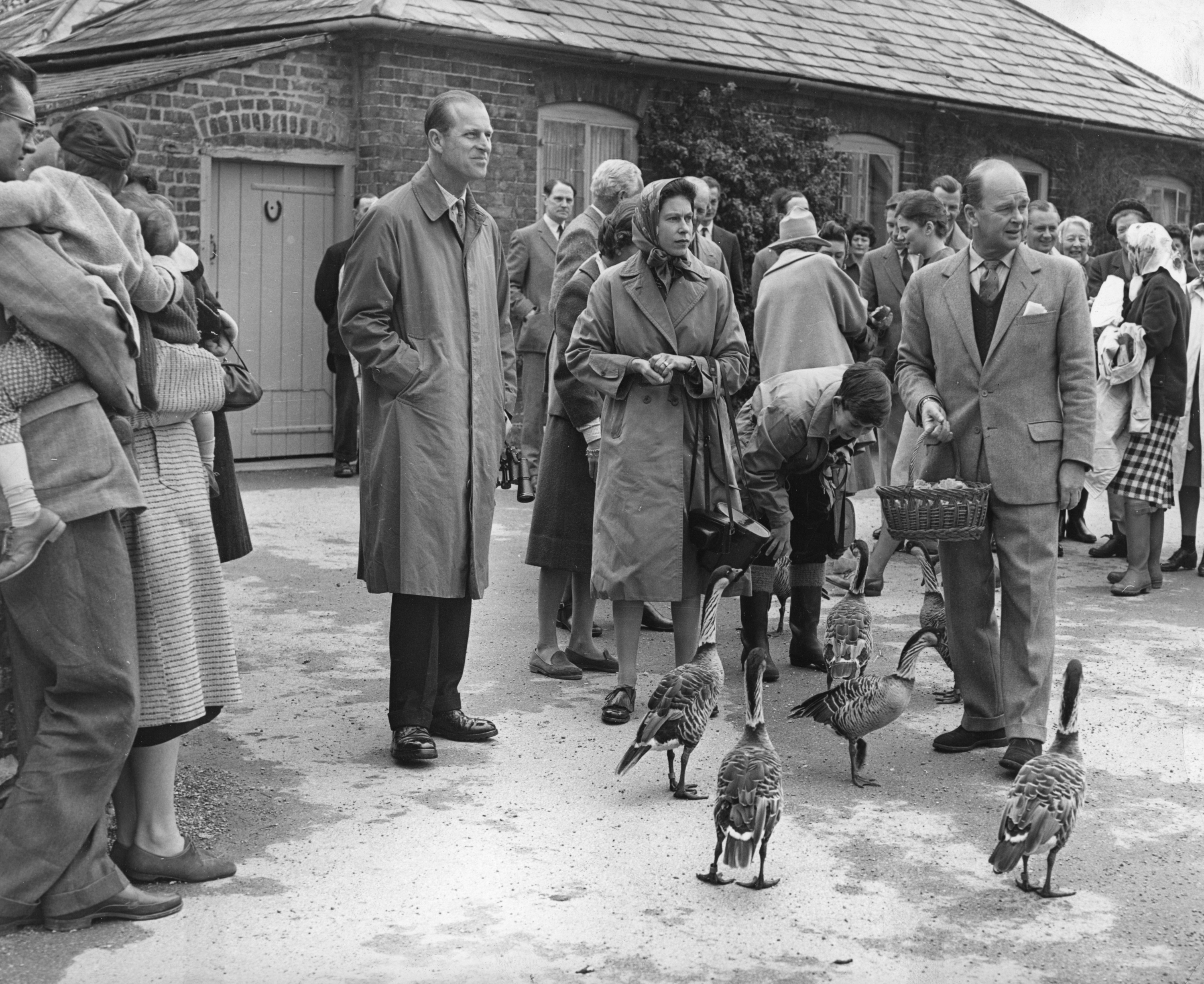The Duke of Edinburgh and The Queen at the Severn Wildfowl Trust in Gloucestershire in 1961