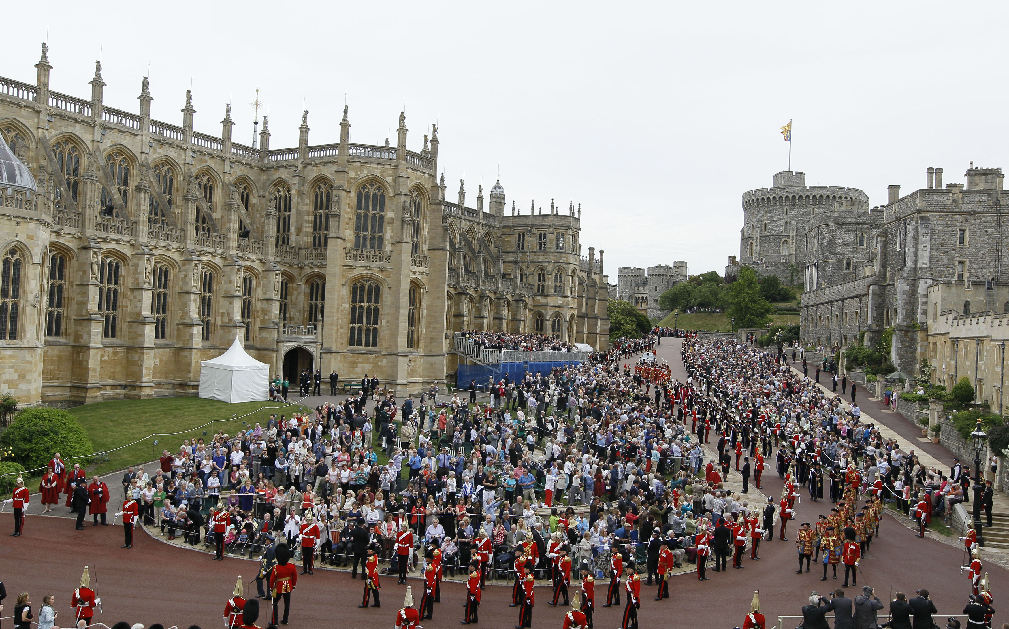 The precincts of Windsor Castle are lined with members of the Armed Forces during Garter Day