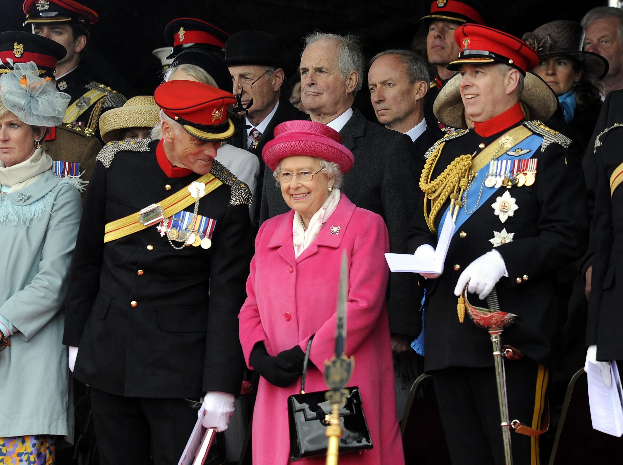 The Queen and The Duke of York attend The Royal Lancers amalgamation ceremony in 2015