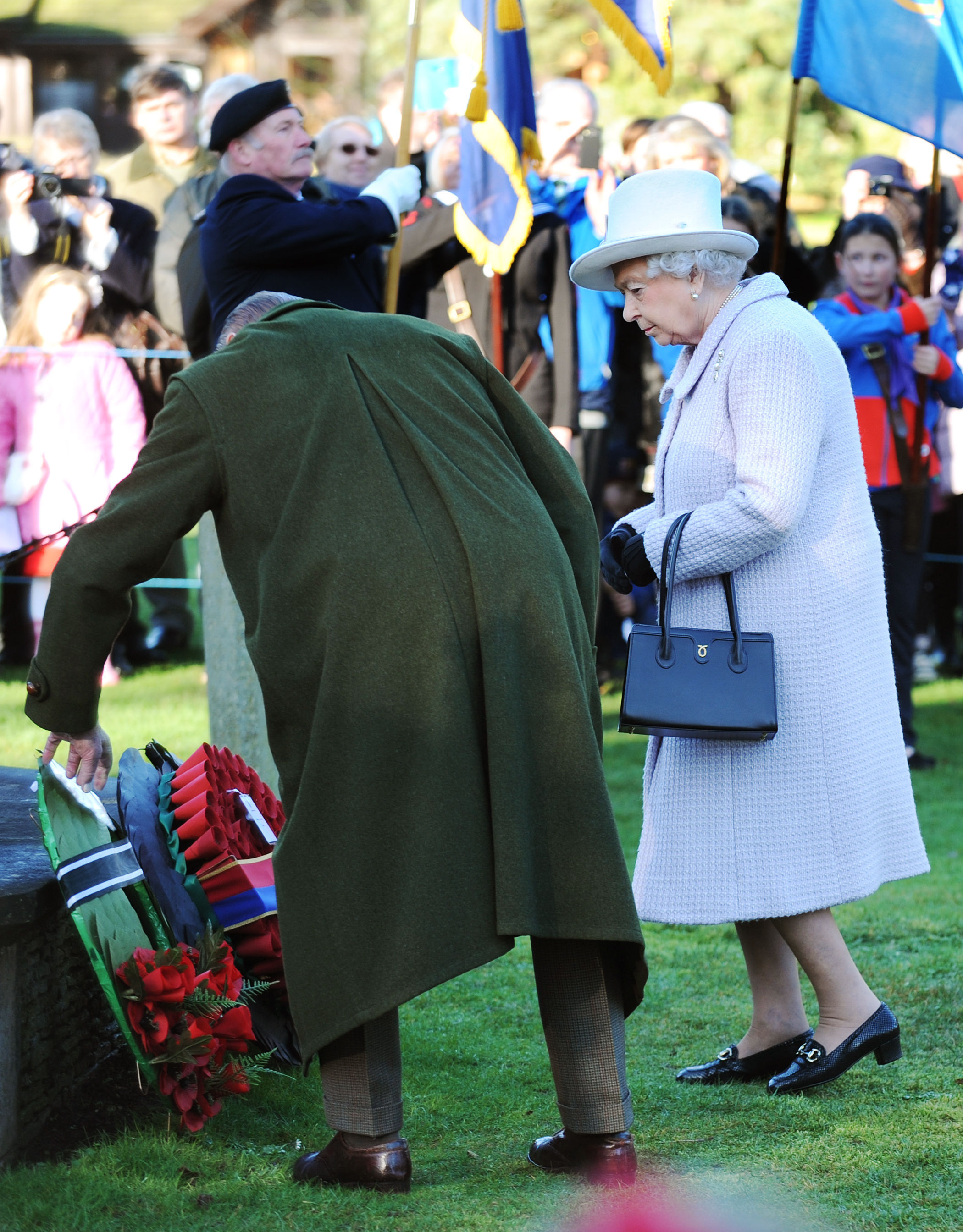 Laying wreaths at Sandringham