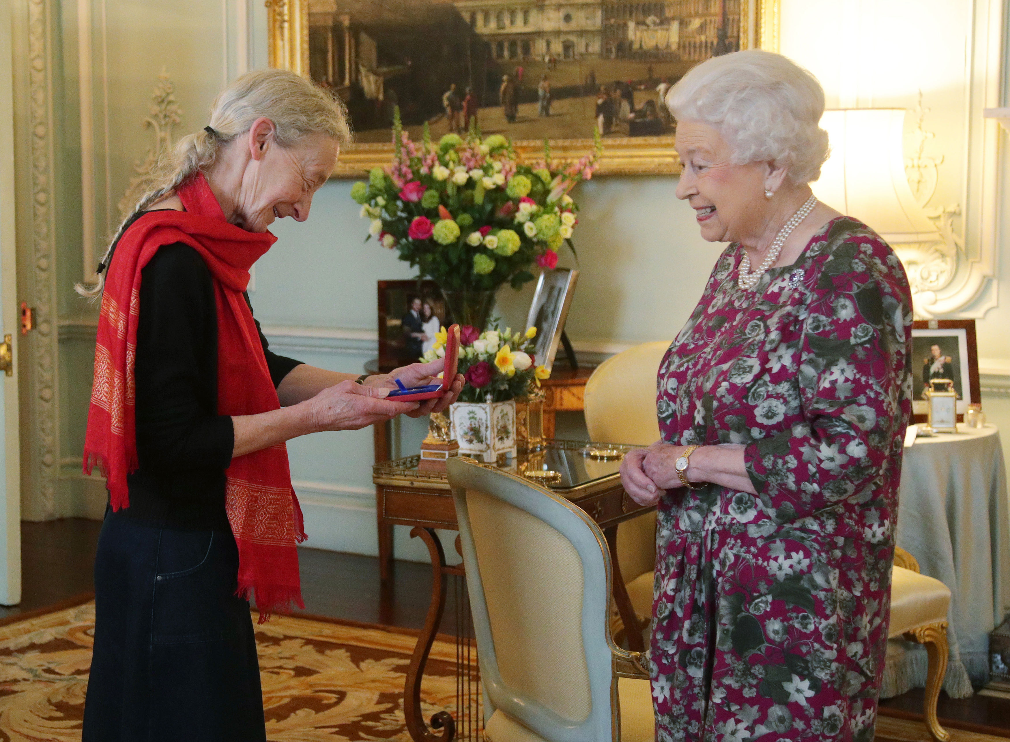 Gillian Allnutt is presented with The Queen's Gold Medal for Poetry by Queen Elizabeth II at Buckingham Palace, London.