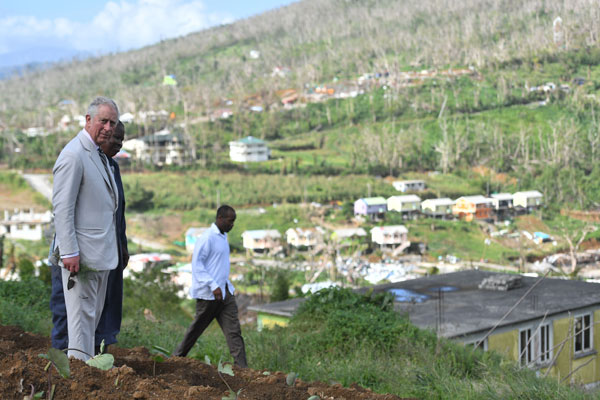 The Prince of Wales views Bellevue Chopin Farm on Dominica