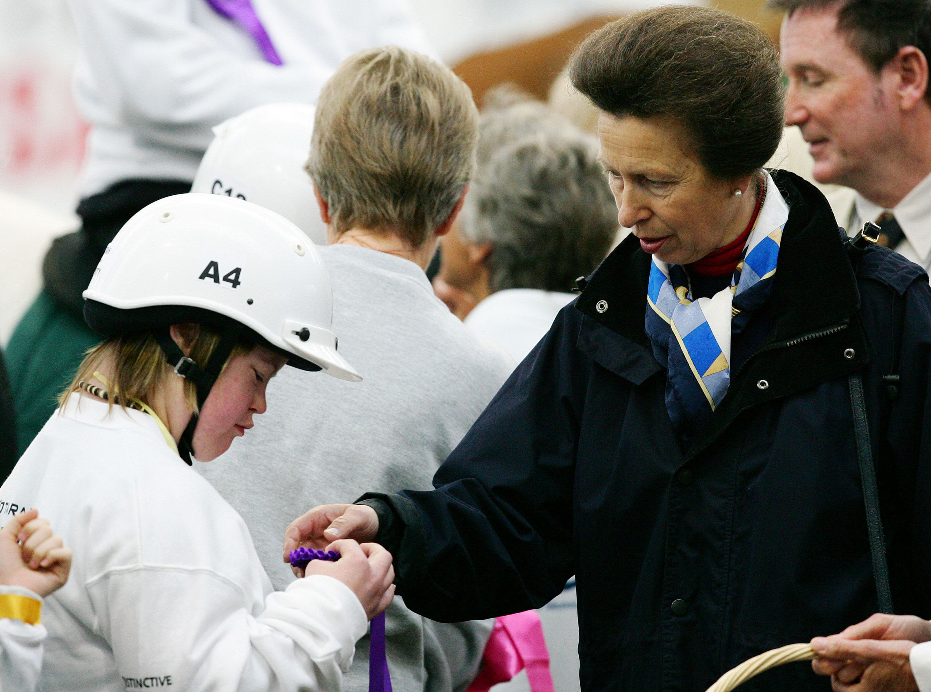 The Princess Royal presents ribbons to the children on her visit to the Ambury Park Centre for the Riding for the Disabled Groups' Ribbon Day at Mangere Bridge, Auckland, New Zealand, Wednesday, 2006.