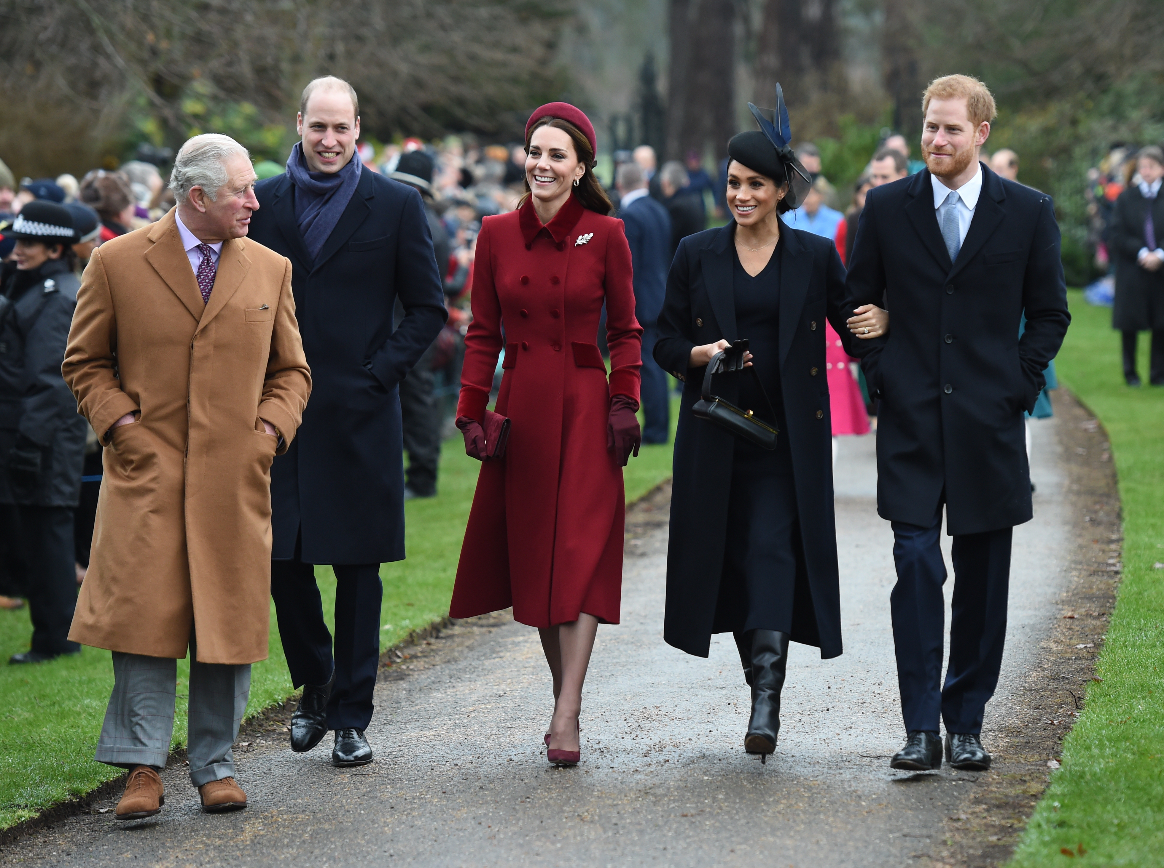 Royal Family Christmas.The Queen And Members Of The Royal Family Attend Church On