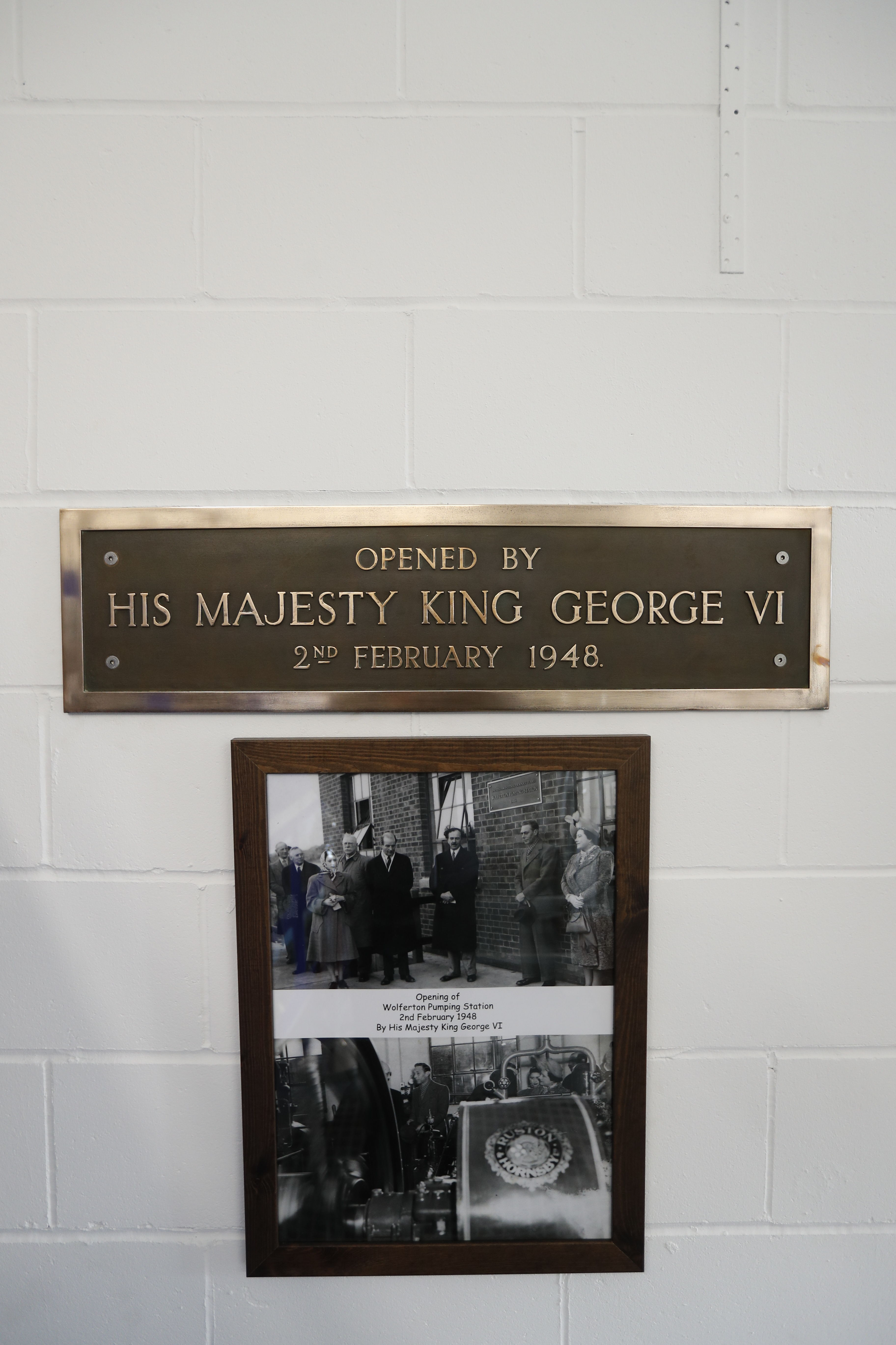 A plaque to commemorate King George VI opening Wolferton Pumping Station in 1948
