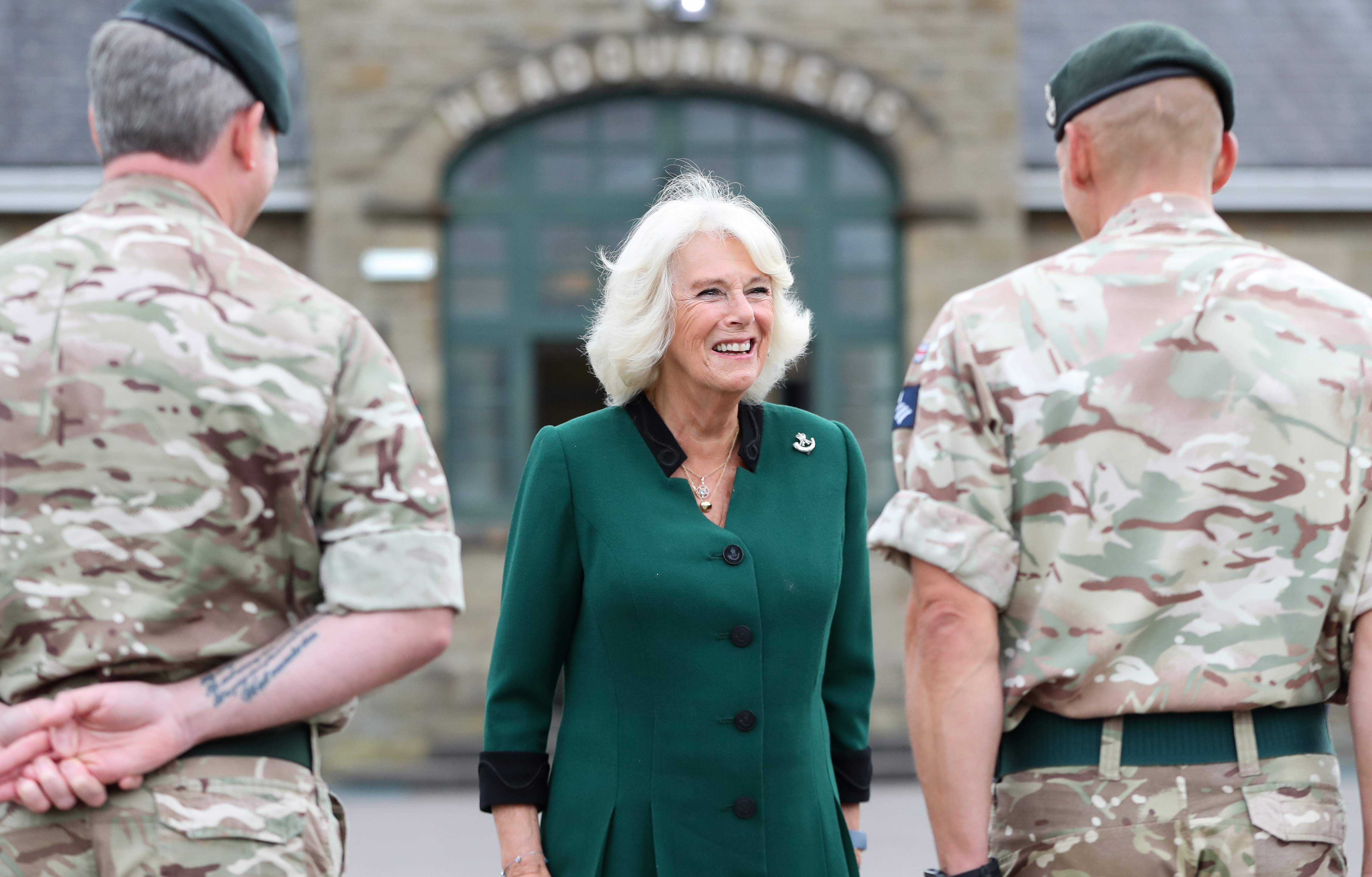 The Duchess of Cornwall speaking with Riflemen, who are currently undertaking further training, at Beachley Barracks, Chepstow