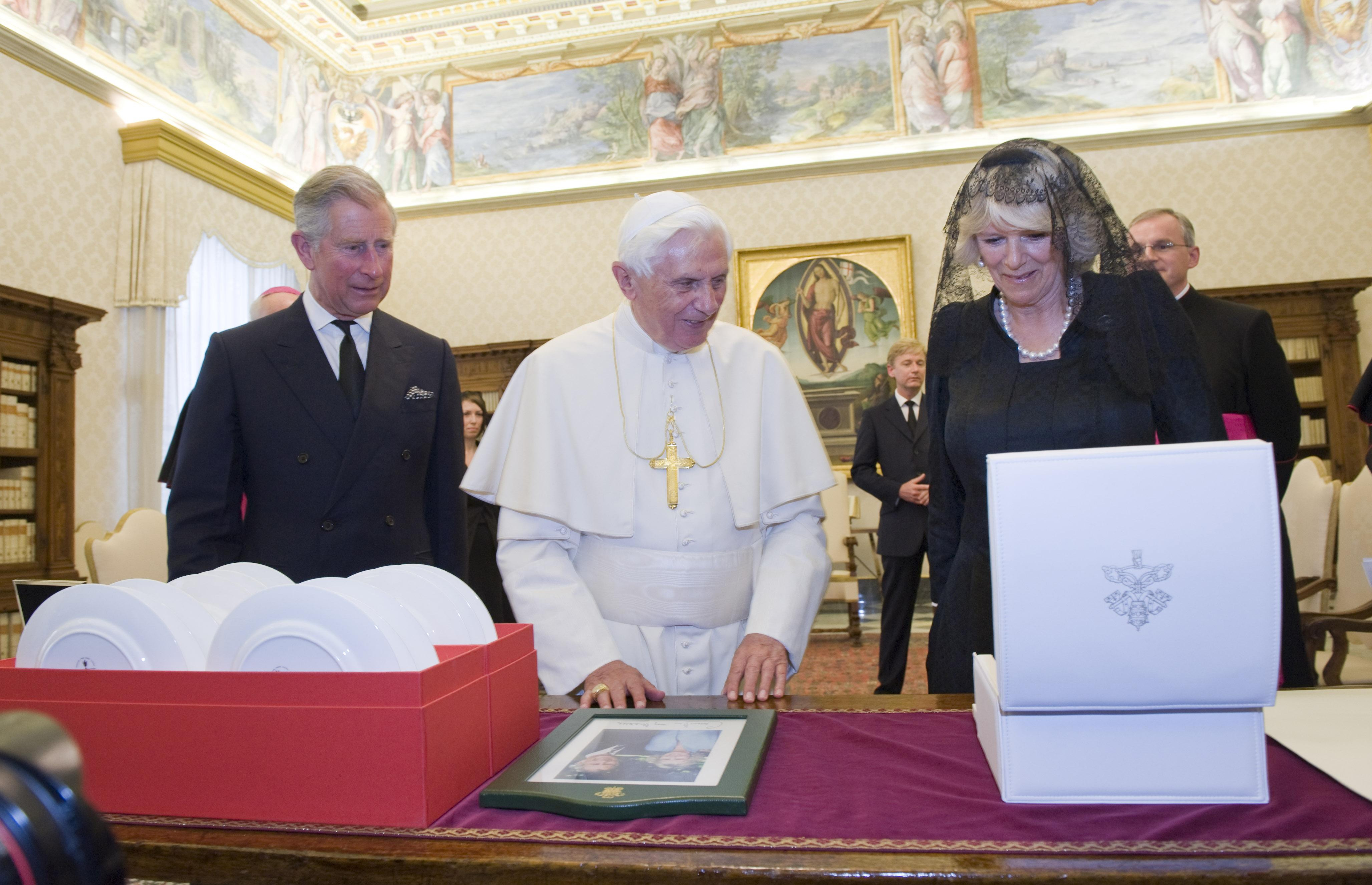 The Prince of Wales and The Duchess of Cornwall meet Pope Benedict XVI in 2009