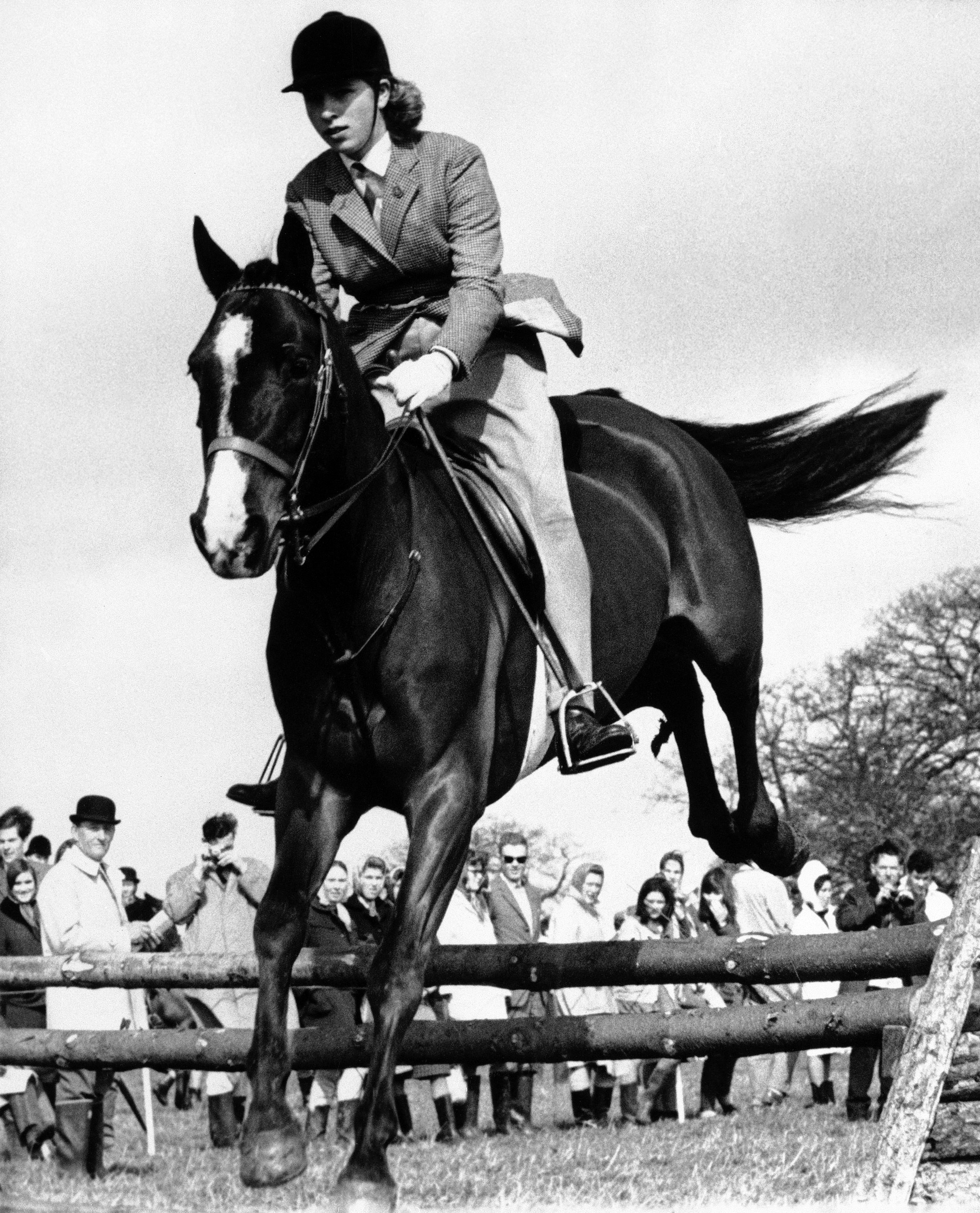 The Princess Royal riding in 1965