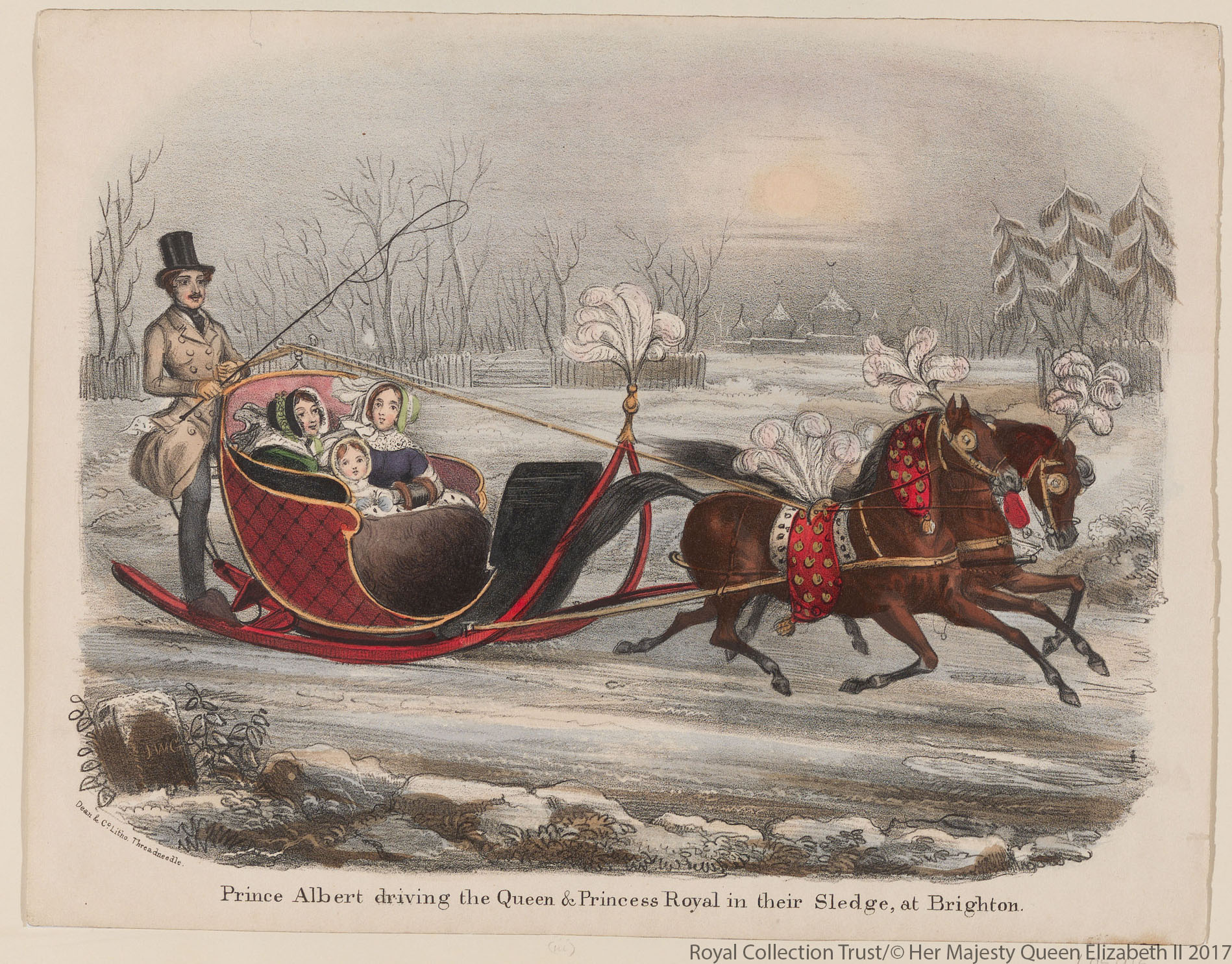 Prince Albert drives his family on a sledge