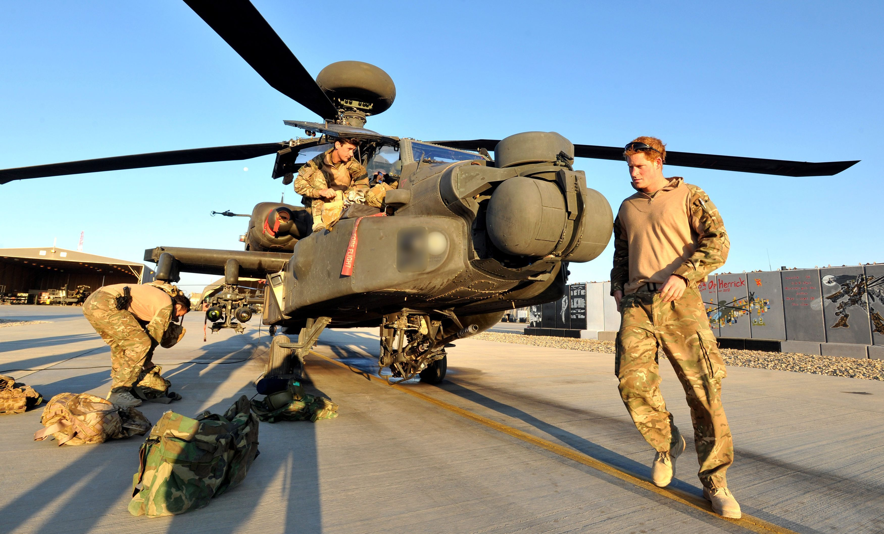 Prince Harry when serving in Helmand Province, Afghanistan with 662 Squadron, 3 Regiment Army Air Corps.