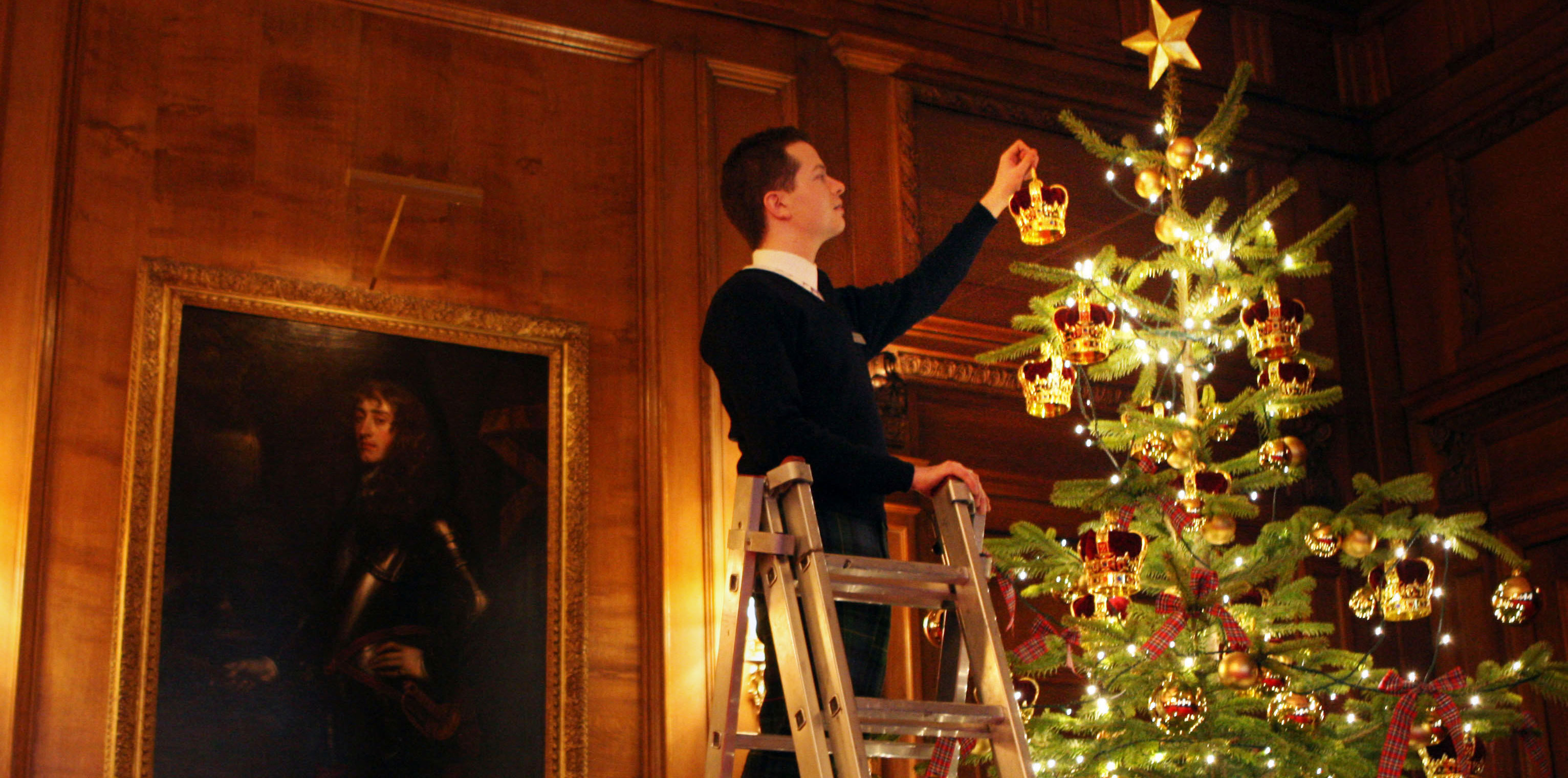 Decorating the Royal Christmas tree at Palace of Holyrood