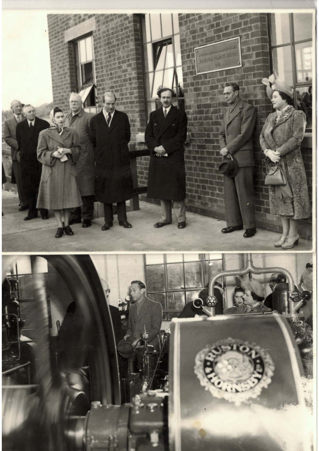 King George, accompanied by Queen Mary and Princess Margaret, opens Wolferton Pumping Station in 1948